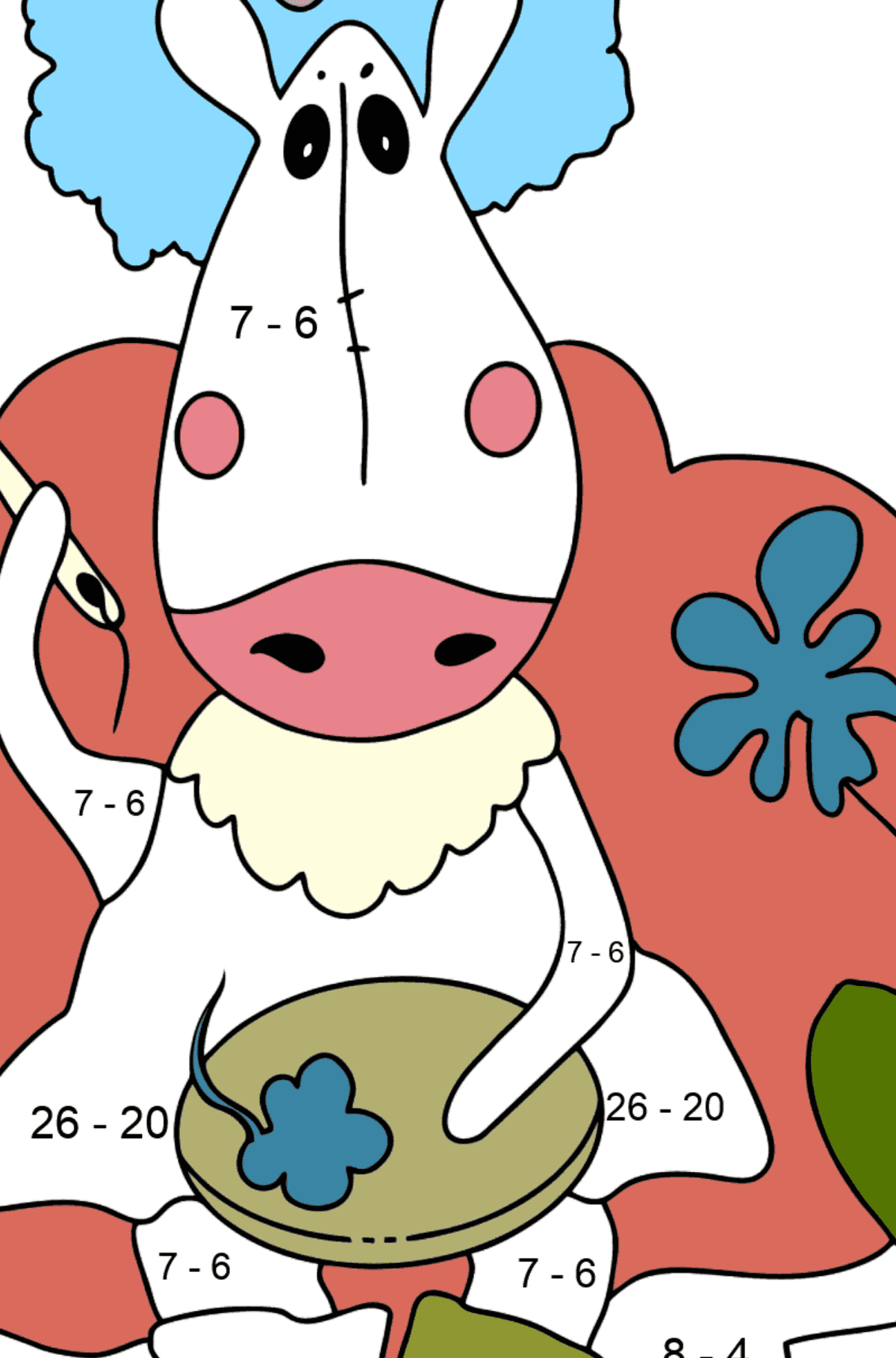 Coloring page a horse on the sofa - Math Coloring - Subtraction for Kids