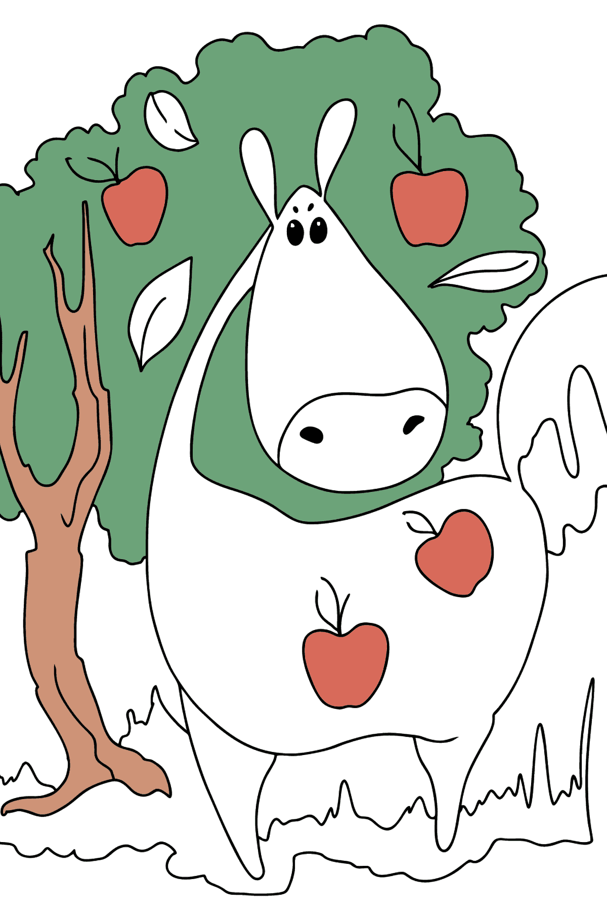 Coloring page a Horse with apples - Coloring Pages for Kids