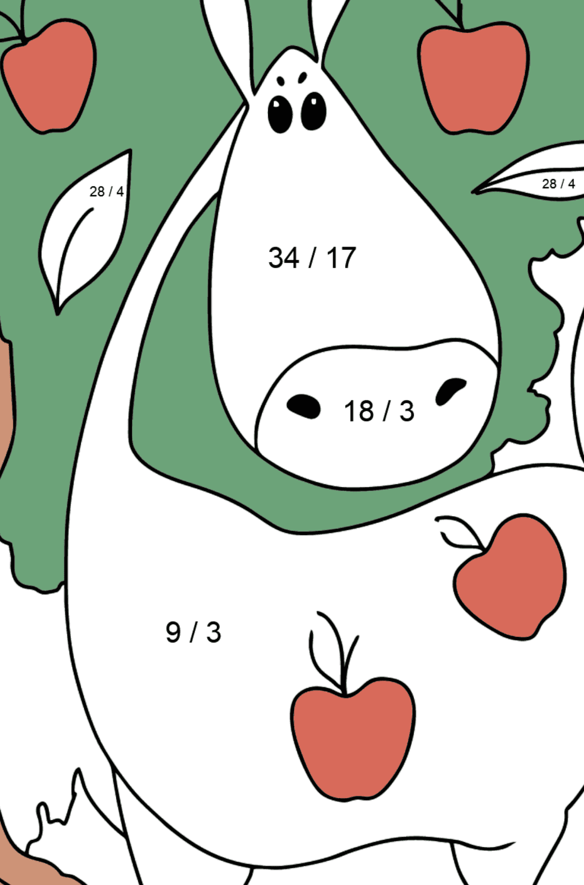 Coloring page a Horse with apples - Math Coloring - Division for Kids