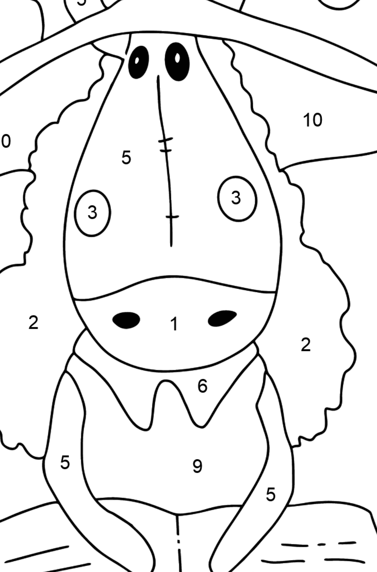 Coloring page a horse with book - Coloring by Numbers for Kids