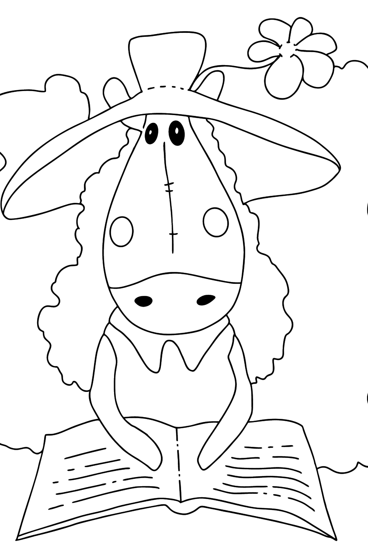 Coloring page a horse with book - Coloring Pages for Kids