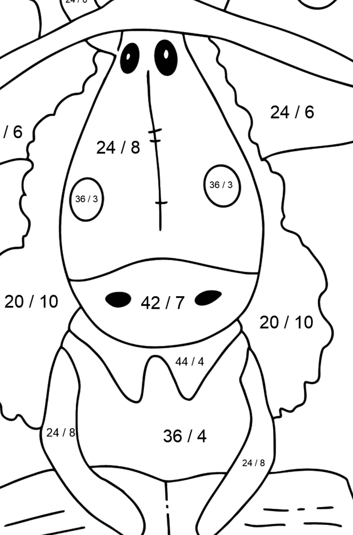 Coloring page a horse with book - Math Coloring - Division for Kids