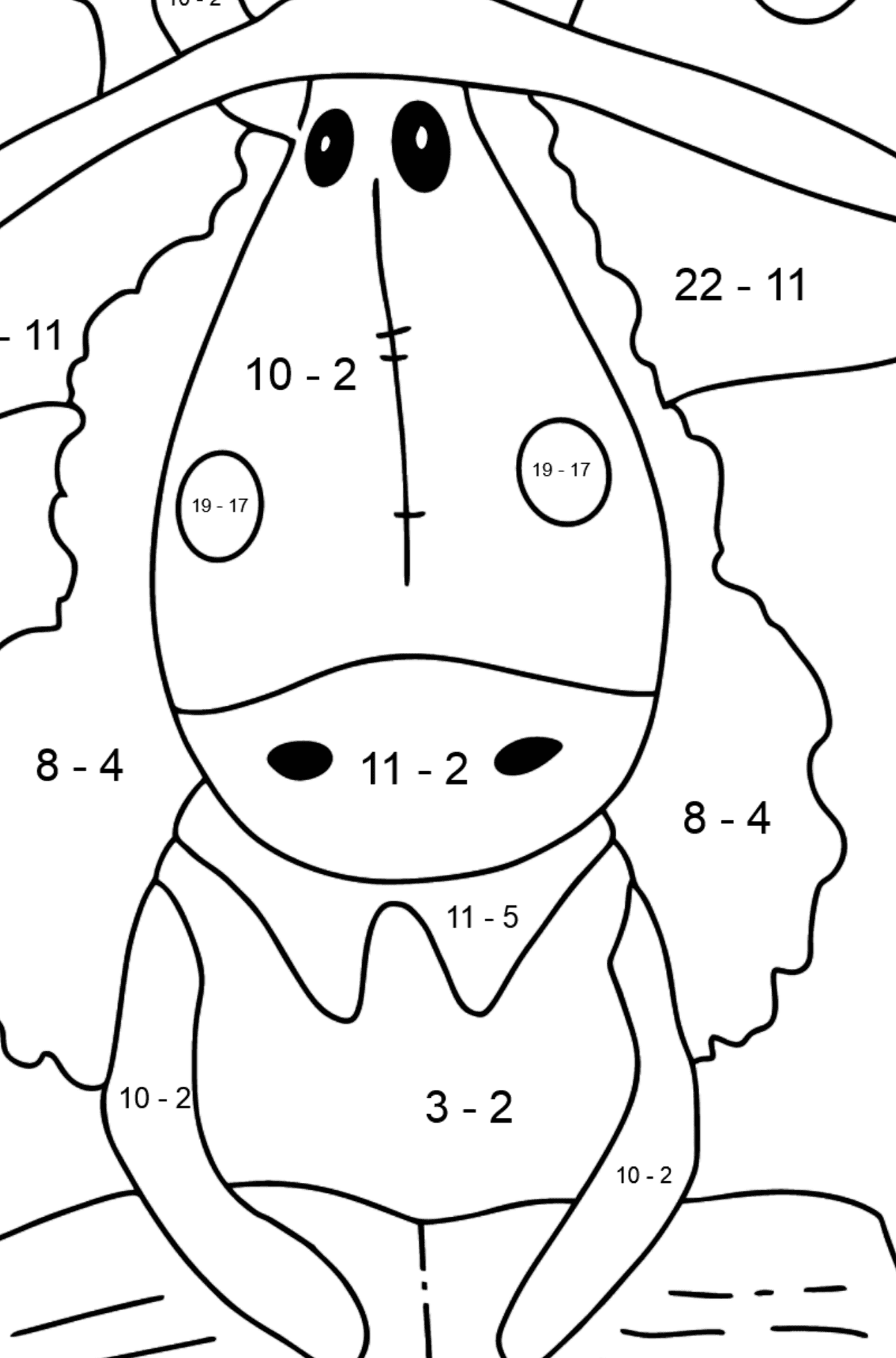 Coloring page a horse with book - Math Coloring - Subtraction for Kids