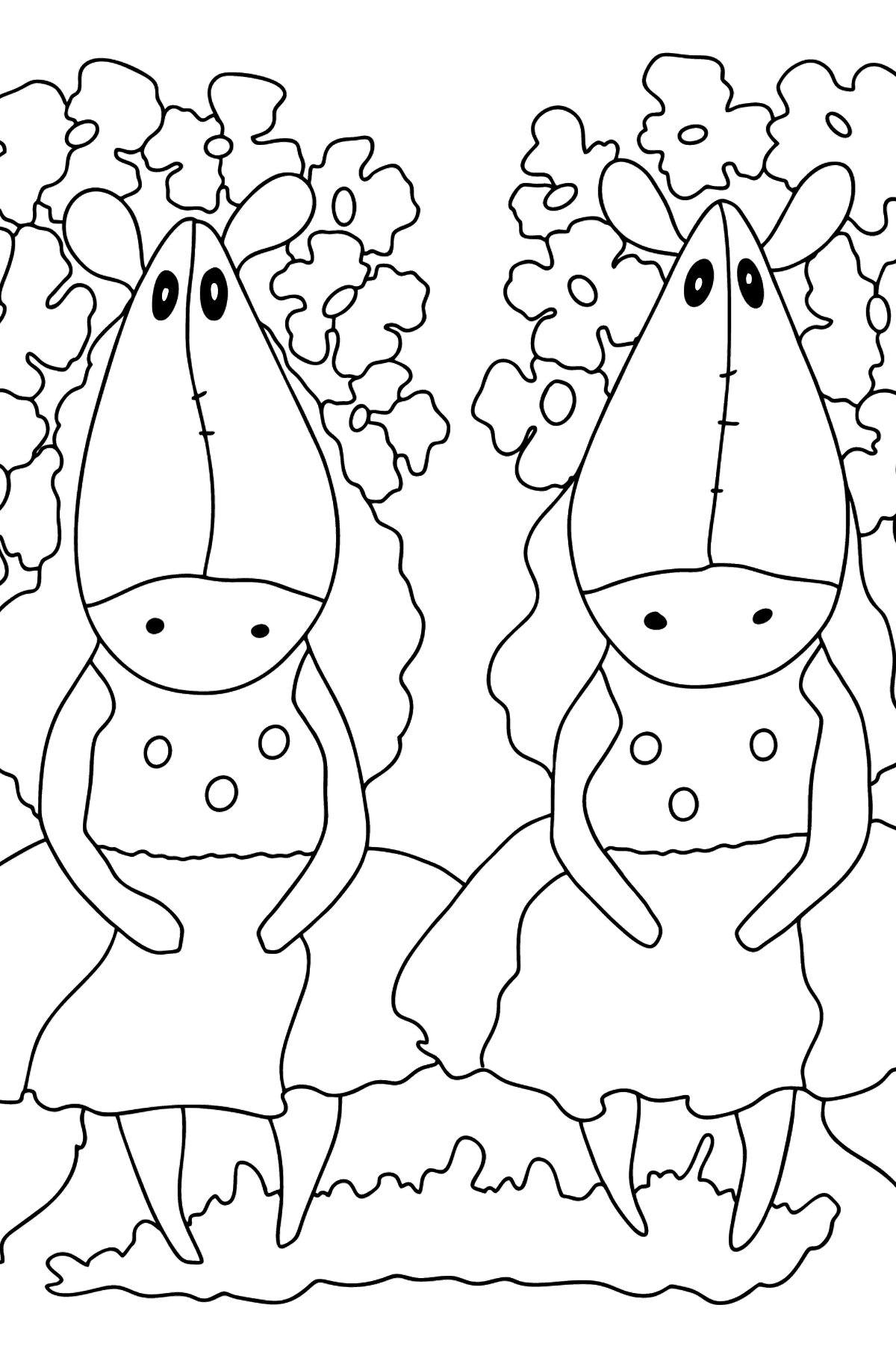 Complex coloring page a couple of horses - Coloring Pages for Kids