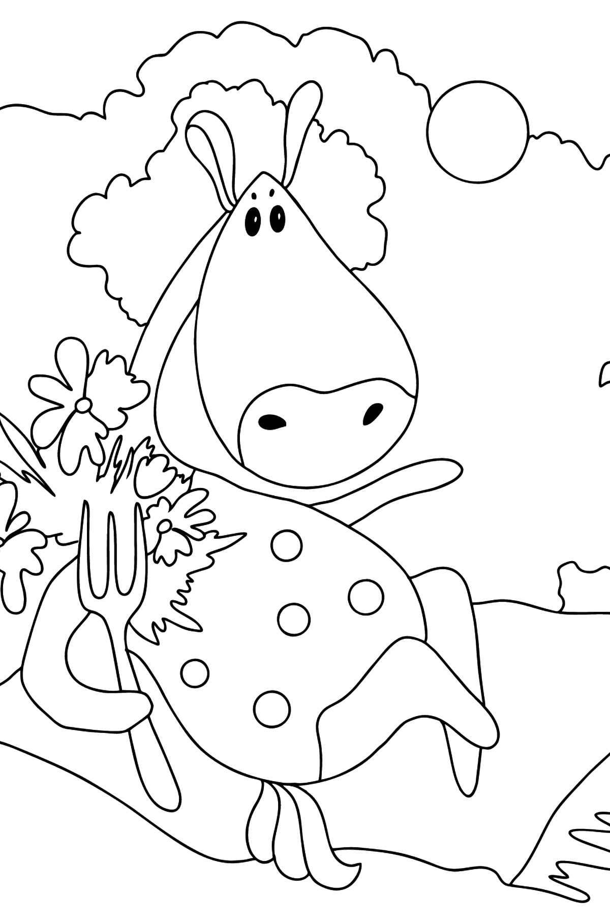 Complex coloring page a horse on the carpet - Coloring Pages for Kids