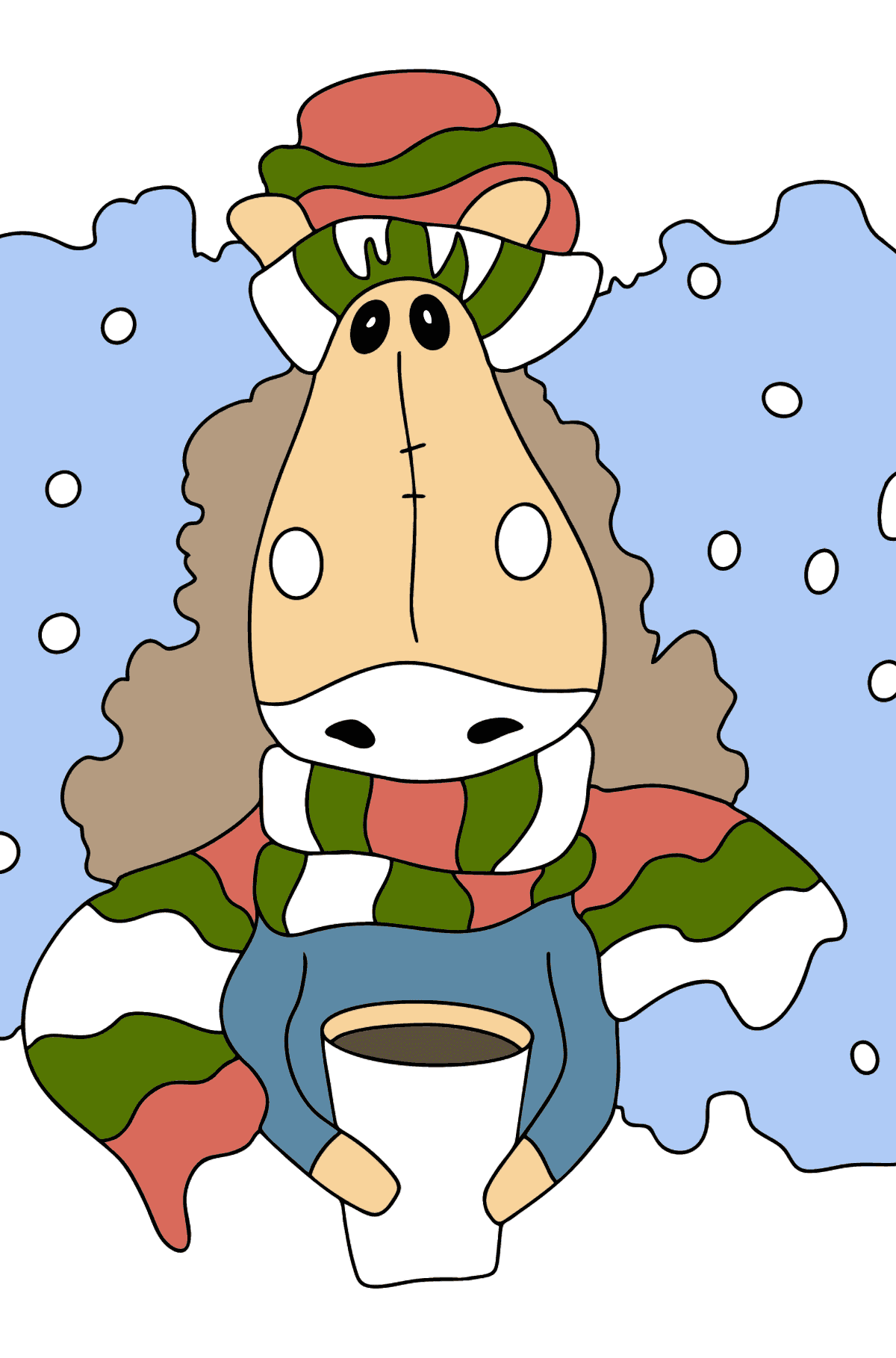 Complex coloring page horse in a scarf - Coloring Pages for Kids