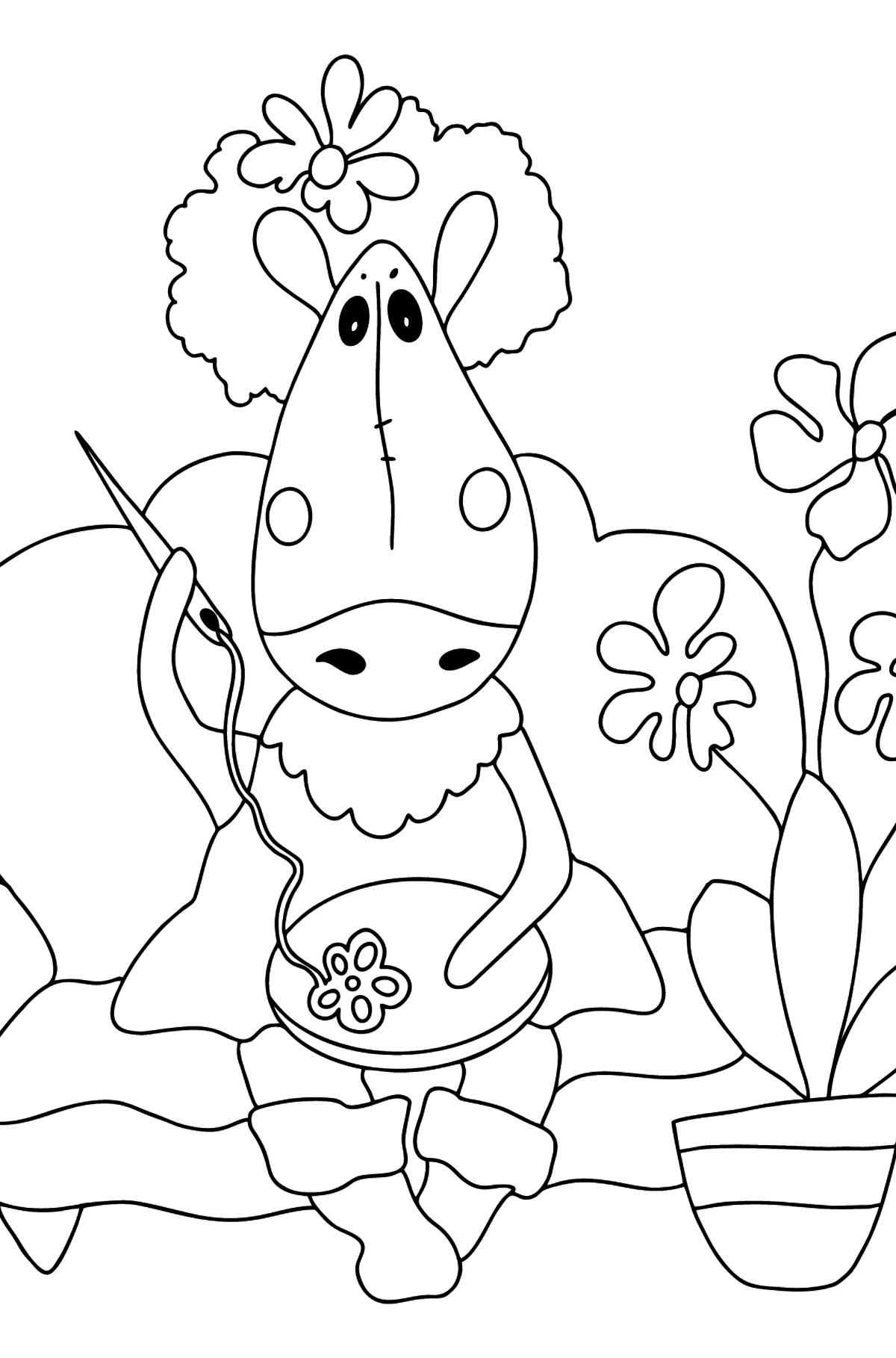 Difficult coloring pafe a horse on the sofa - Coloring Pages for Kids