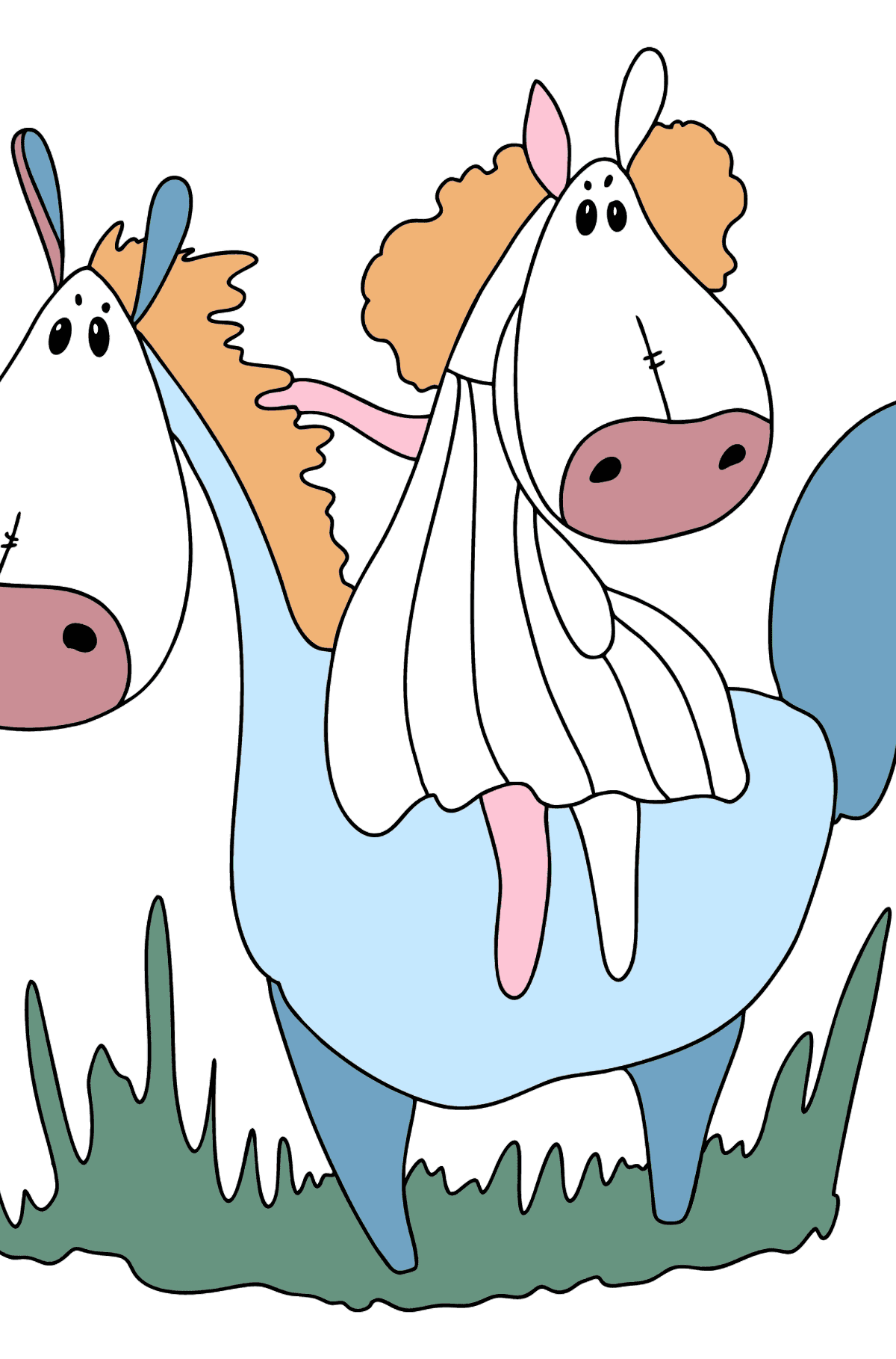 Difficult coloring page a horse for a walk - Coloring Pages for Kids