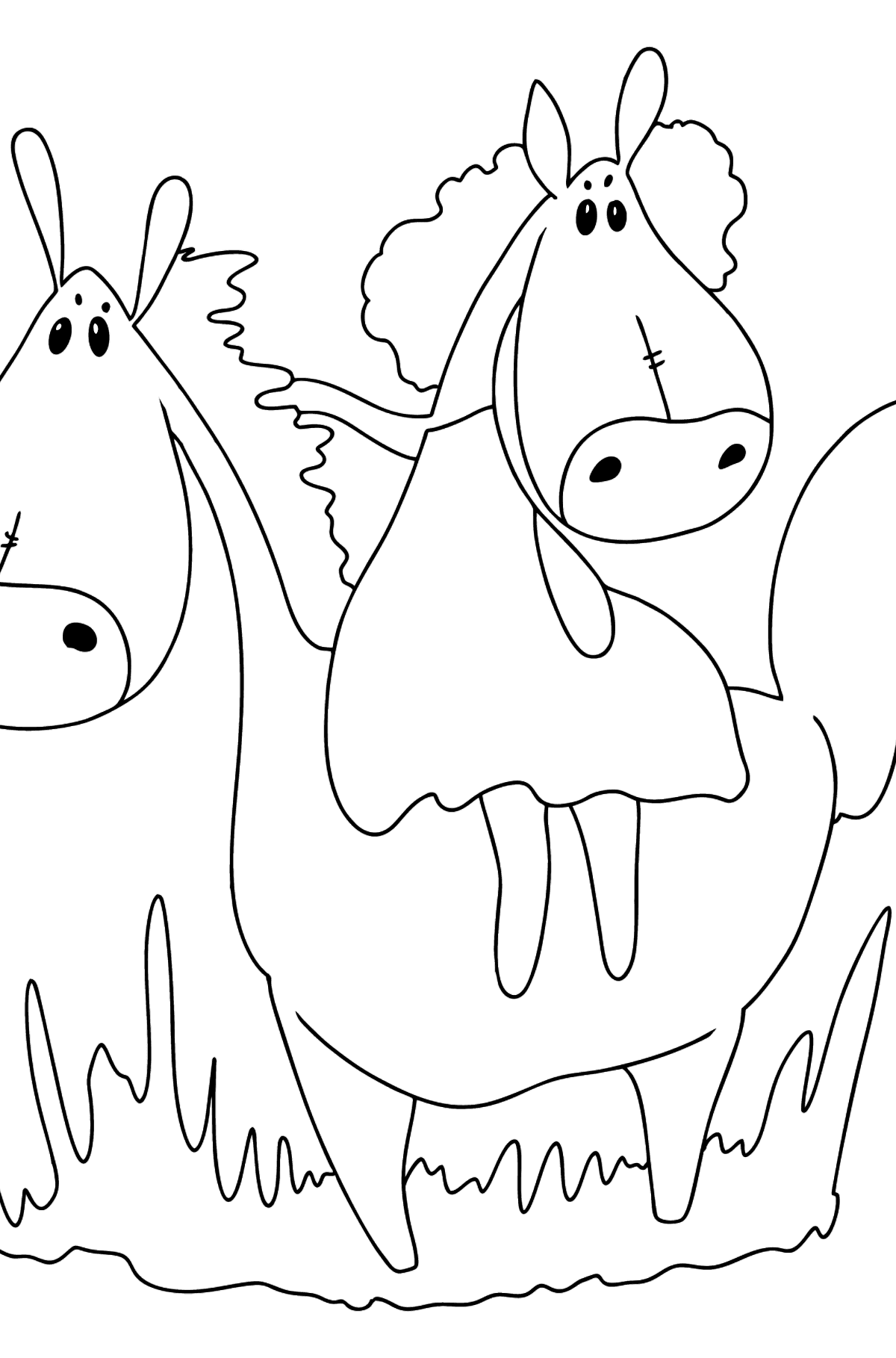 Simple coloring page a horse for a walk - Coloring Pages for Kids