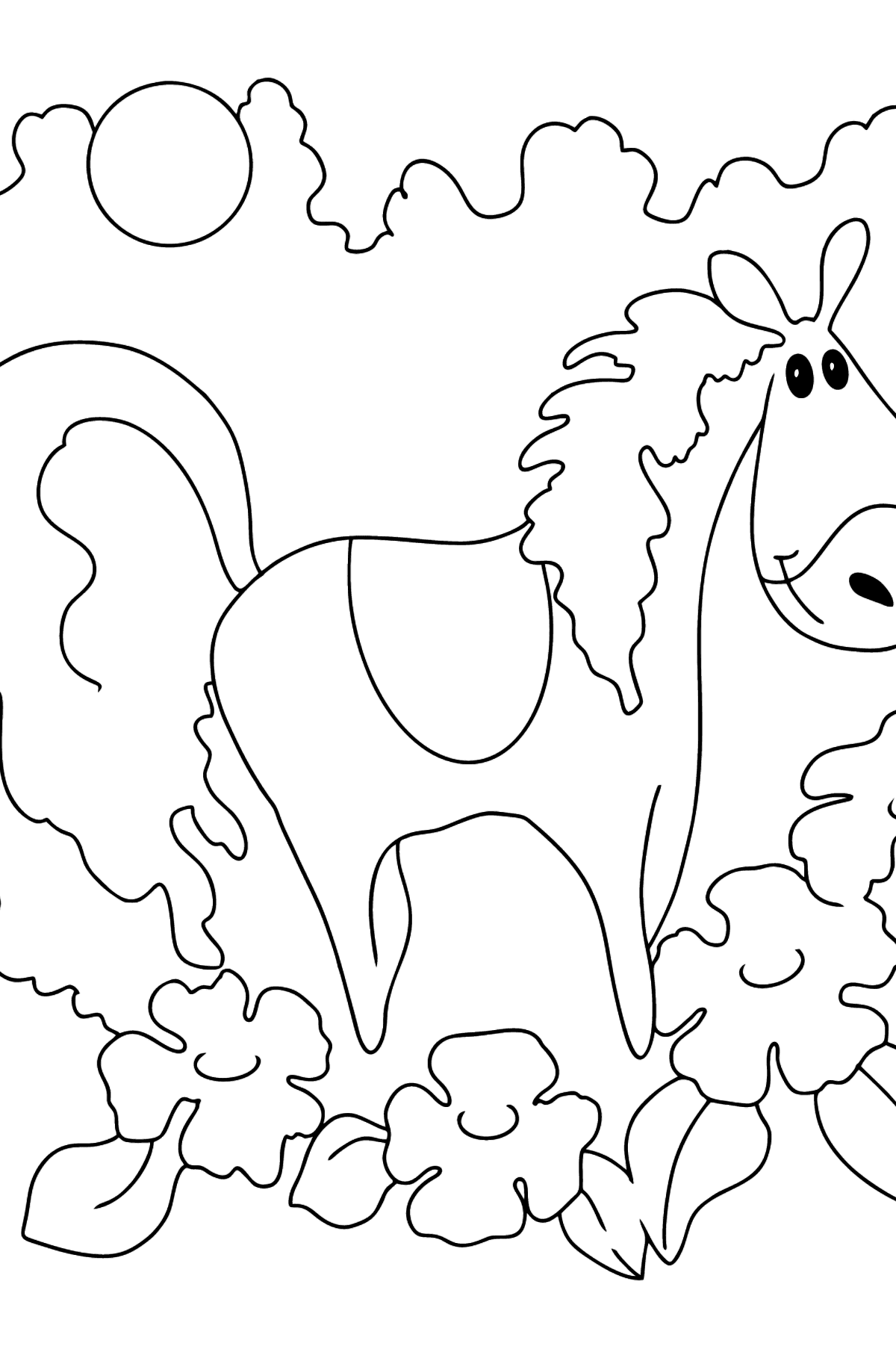 Simple coloring page a horse in flowers - Coloring Pages for Kids