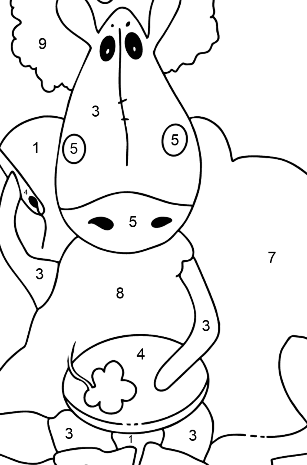 Simple coloring page a horse on the sofa - Coloring by Numbers for Kids