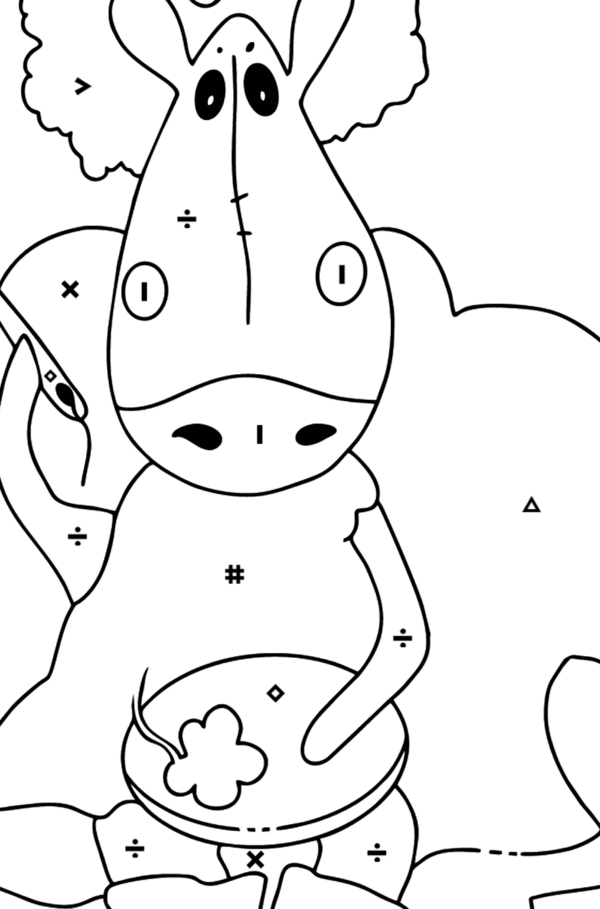 Simple coloring page a horse on the sofa - Coloring by Symbols for Kids