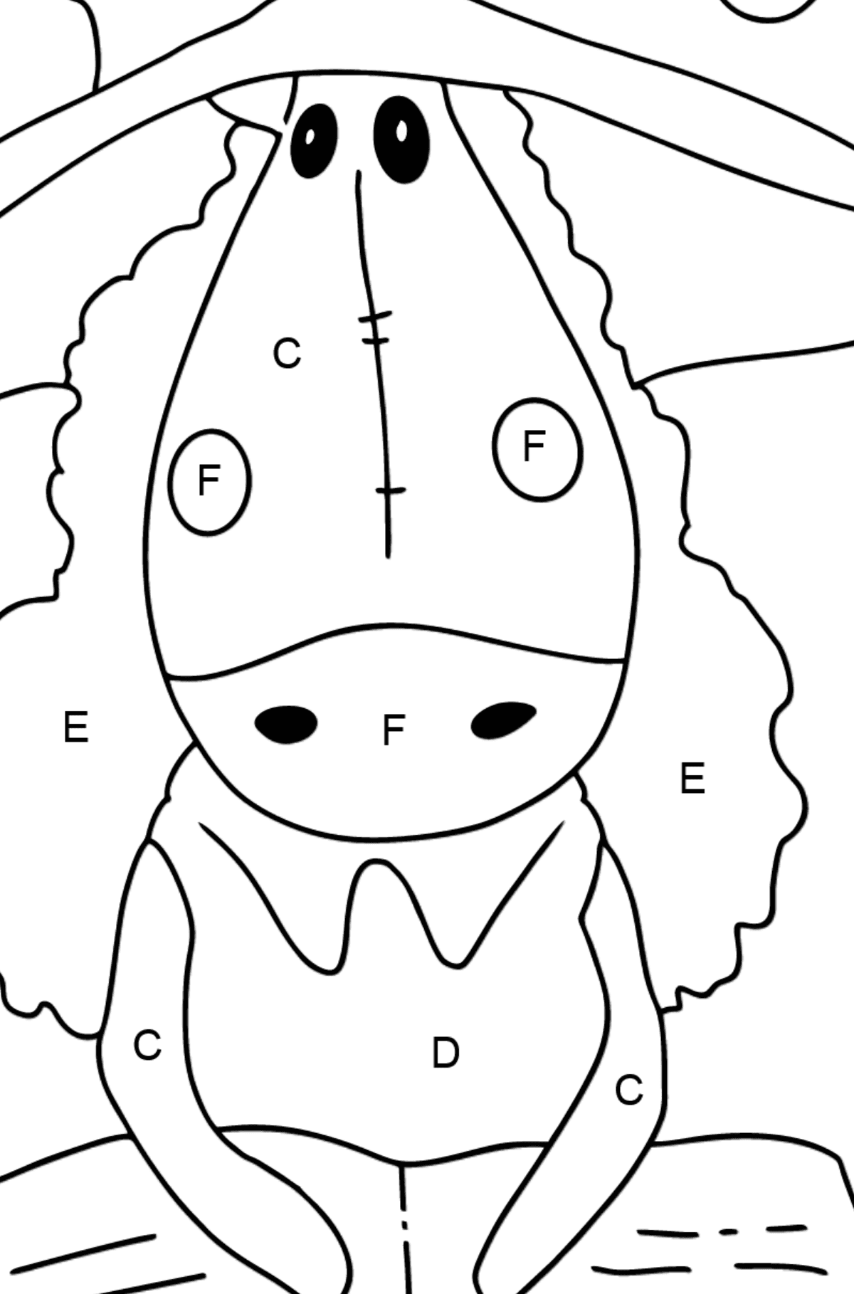 Simple coloring page a horse with book - Coloring by Letters for Kids