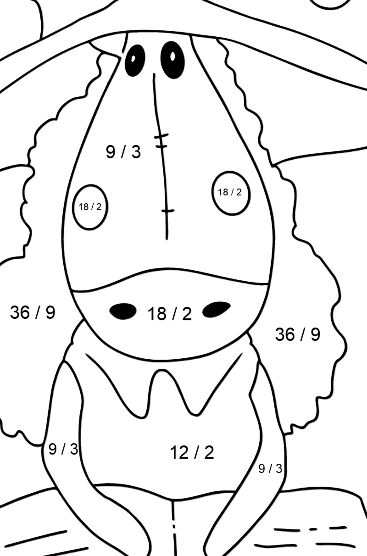 Simple coloring page a horse with book - Math Coloring - Division for Kids