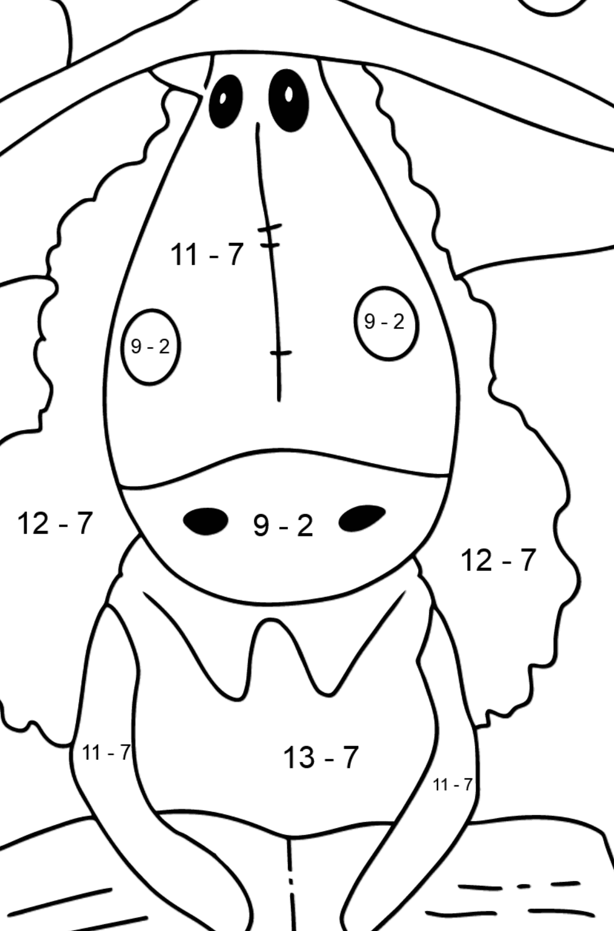 Simple coloring page a horse with book - Math Coloring - Subtraction for Kids