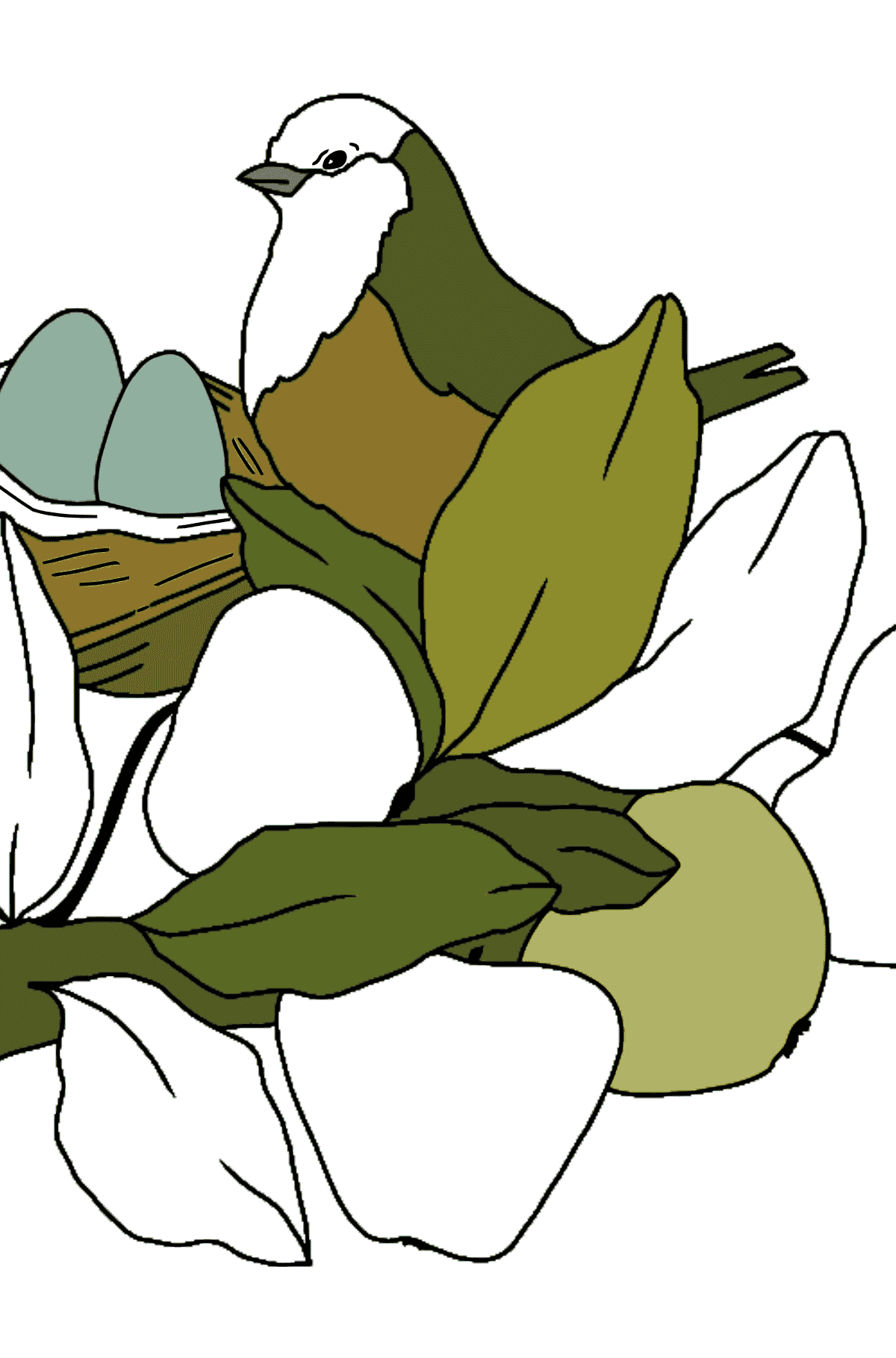 Spring Coloring Page - A Bird will Soon Have Nestlings for Kids
