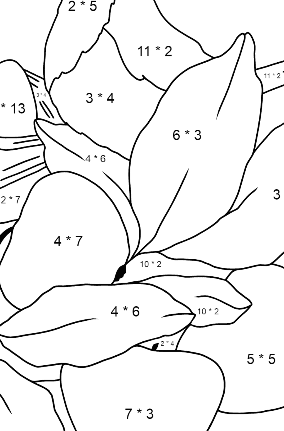 Spring Coloring Page - A Bird will Soon Have Nestlings for Kids  - Color by Number Multiplication