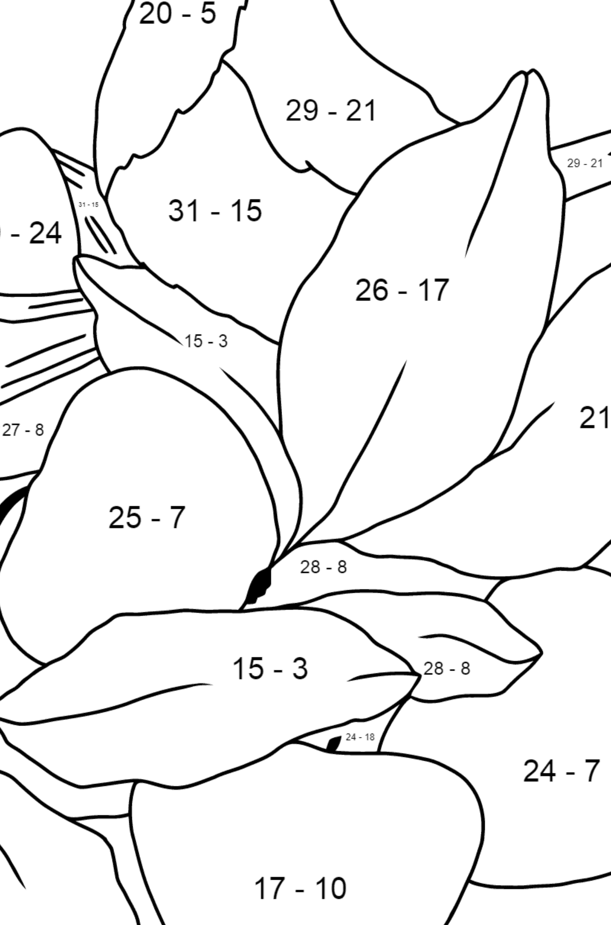 Spring Coloring Page - A Bird will Soon Have Nestlings for Kids  - Color by Number Substraction