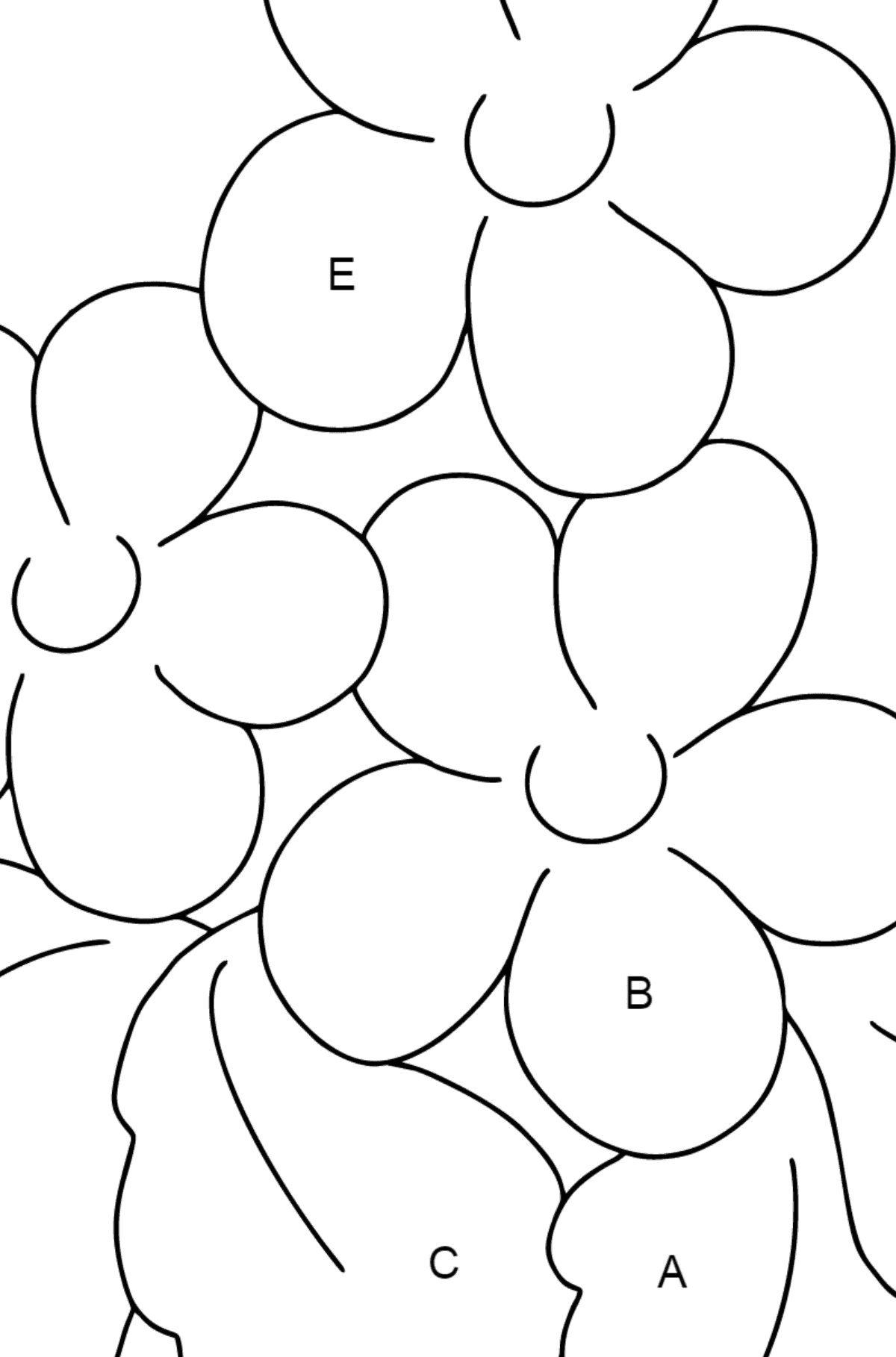 Coloring Page - Spring and Flowers - Coloring by Letters for Kids