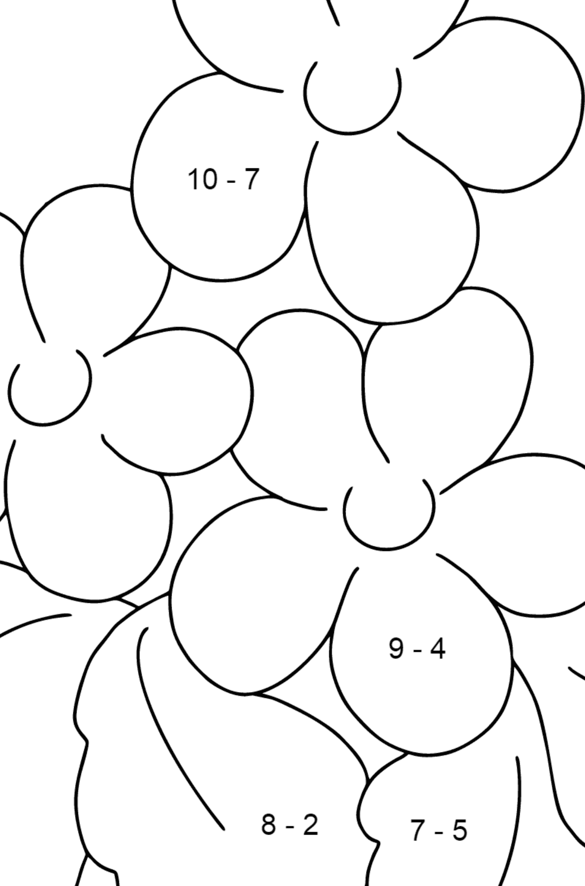 Coloring Page - Spring and Flowers - Math Coloring - Subtraction for Kids