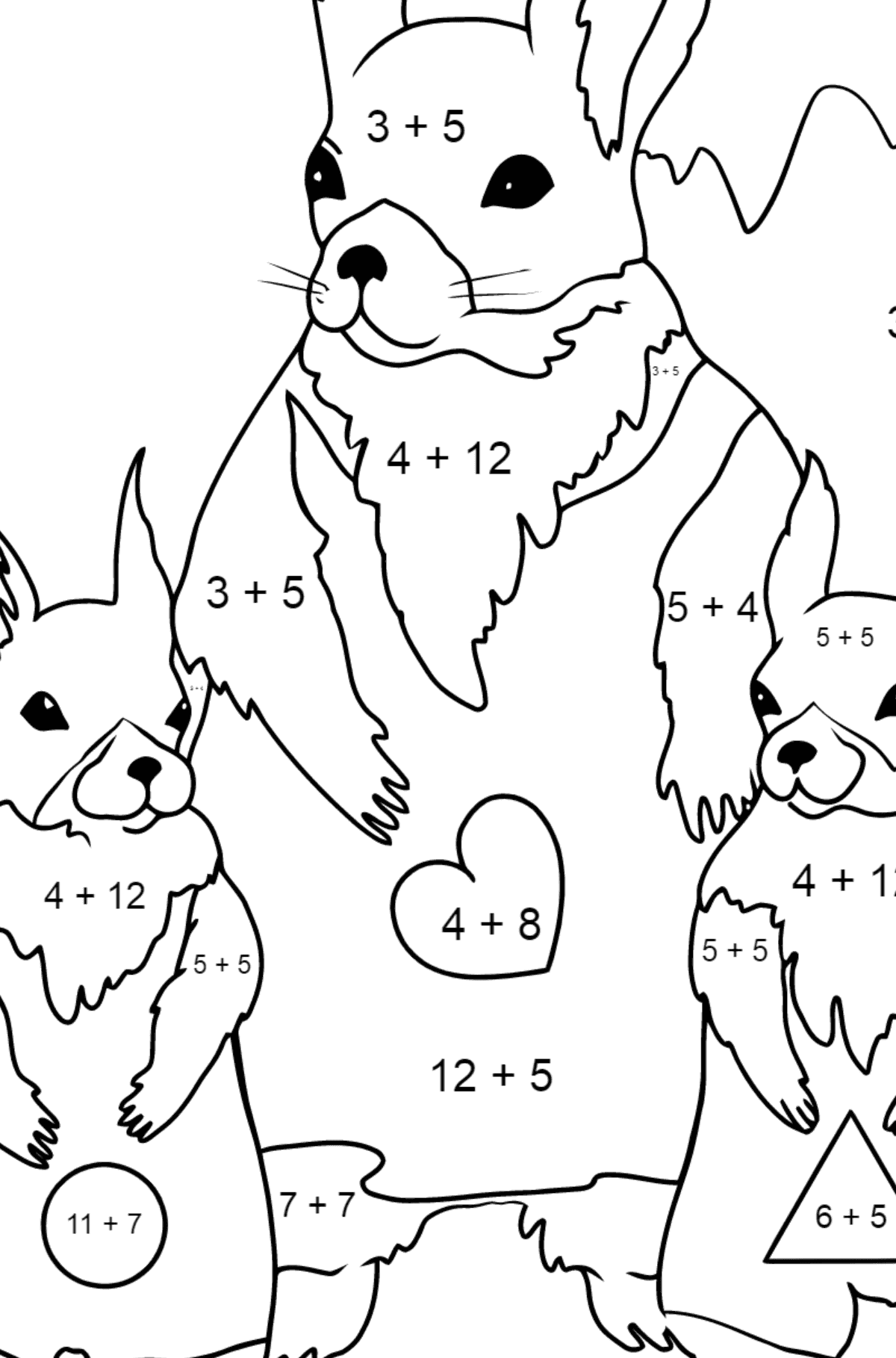 Spring Coloring Page - Beautiful Squirrels for Kids  - Color by Number Addition