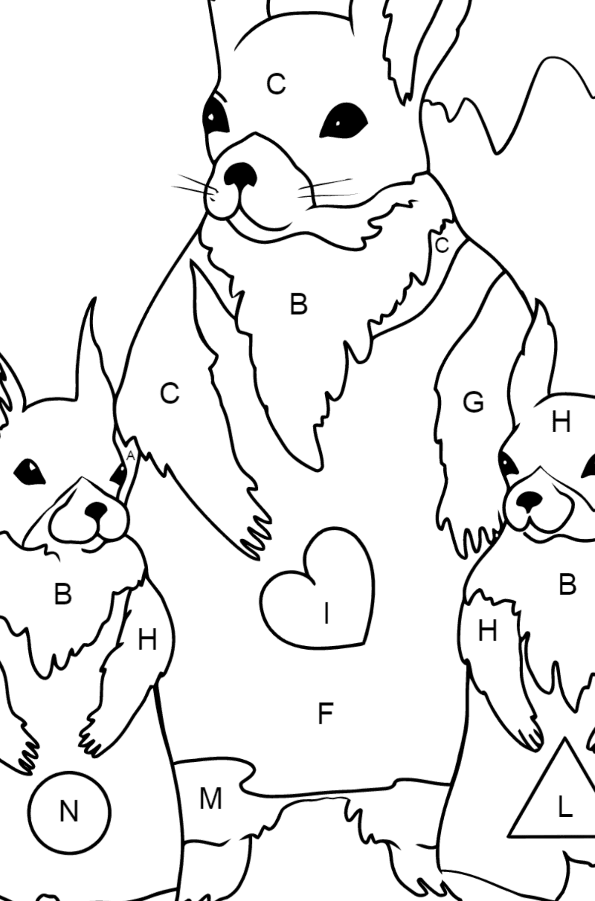 Spring Coloring Page - Beautiful Squirrels for Children  - Color by Letters
