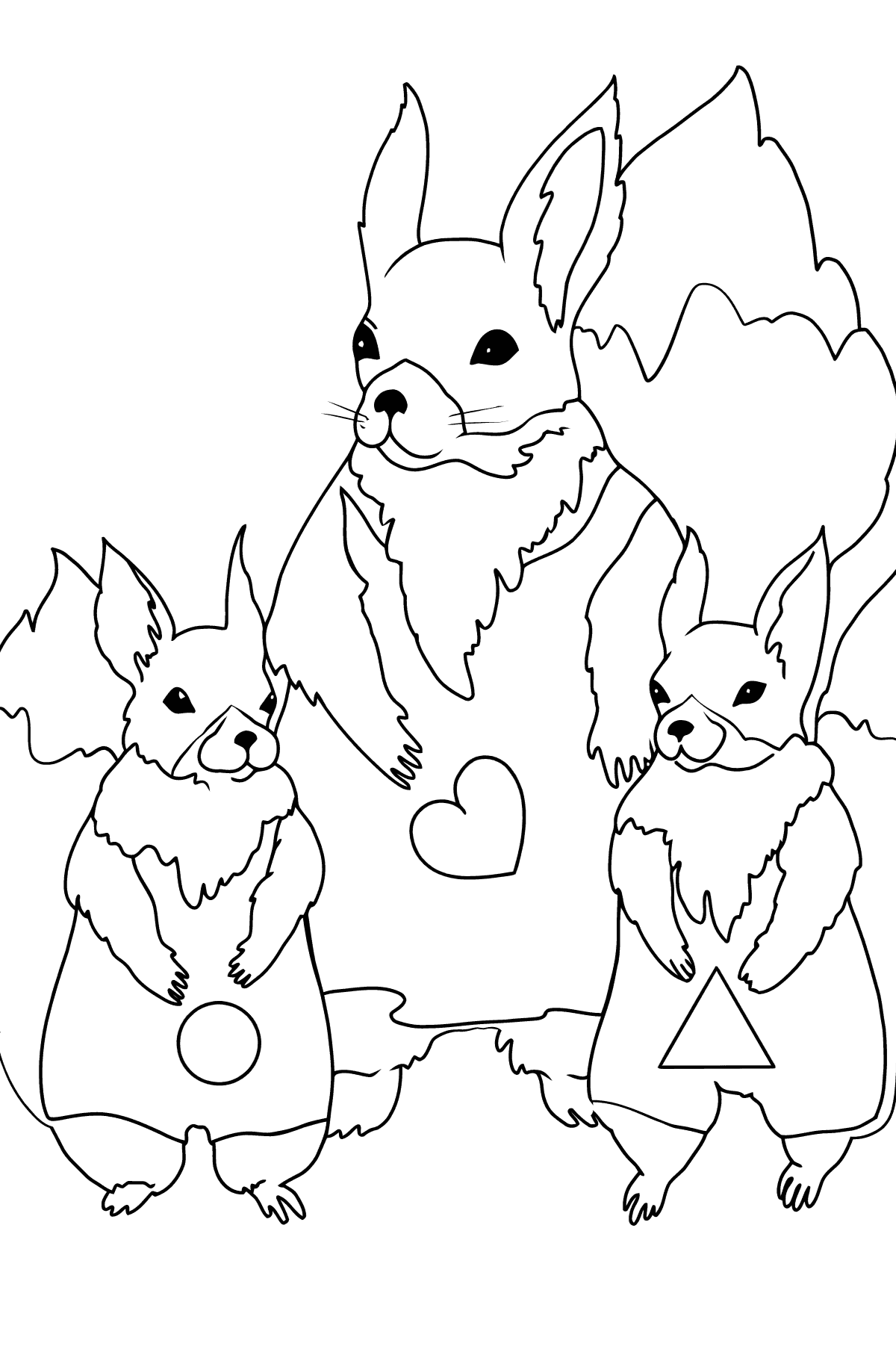 Spring Coloring Page - Beautiful Squirrels for Kids