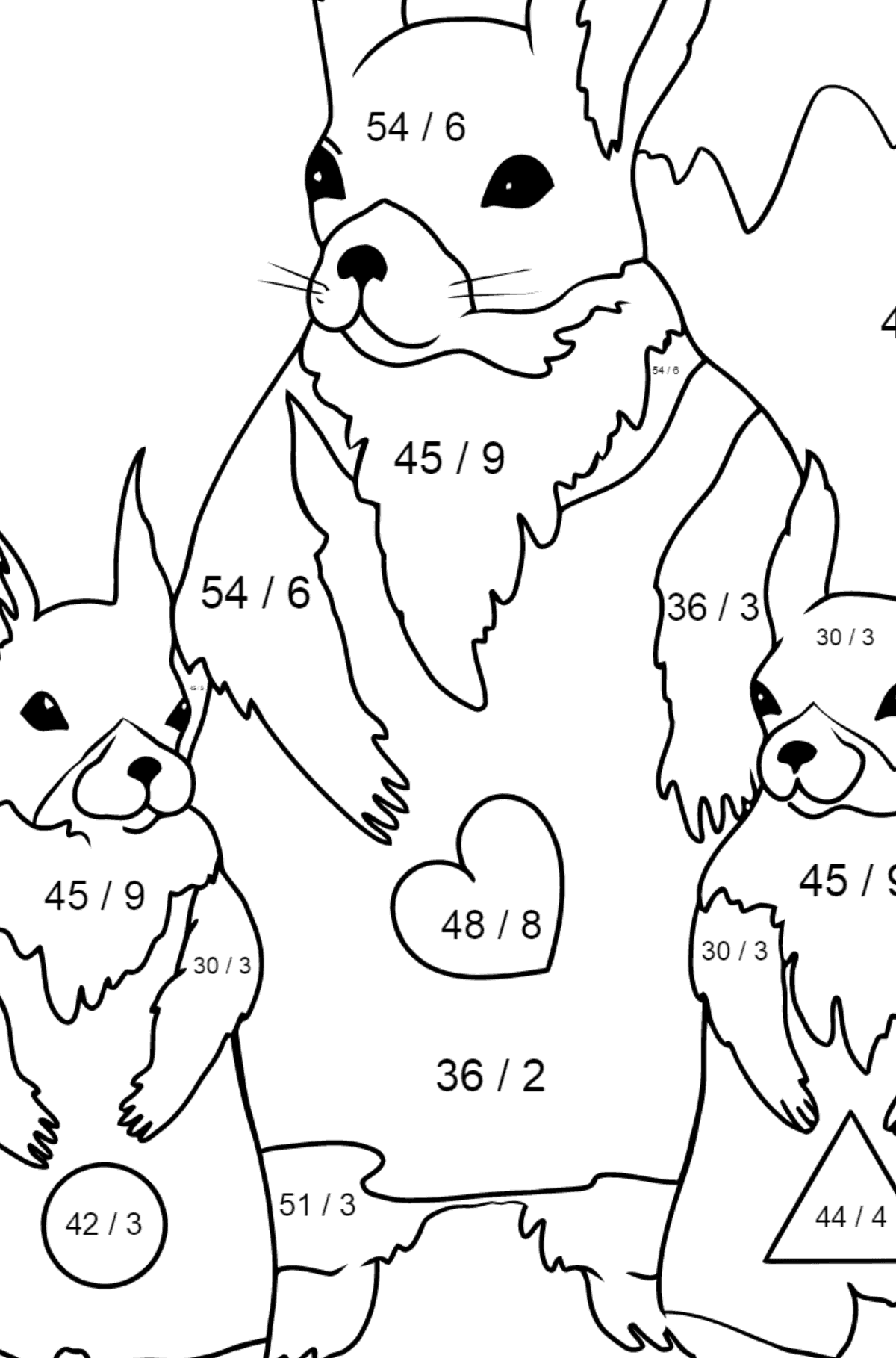 Spring Coloring Page - Beautiful Squirrels for Kids  - Color by Number Division