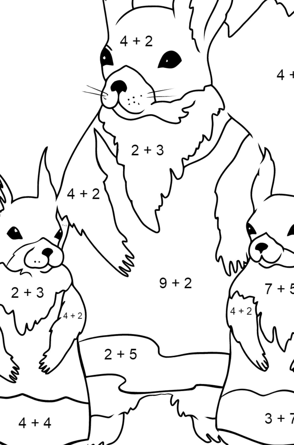 Spring Coloring Page - Squirrels are Preparing to Greet the Sun for Children  - Color by Number Addition