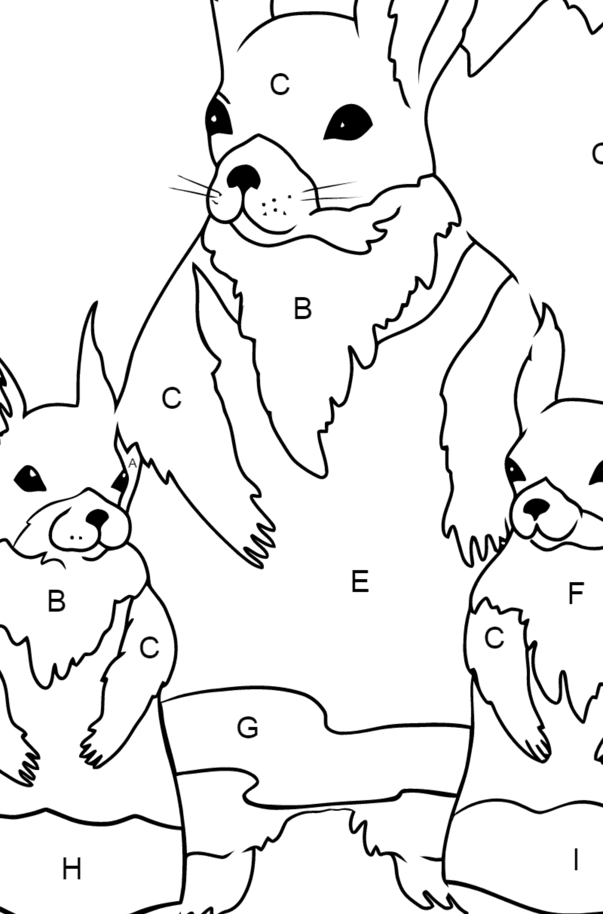 Spring Coloring Page - Squirrels are Preparing to Greet the Sun for Children  - Color by Letters