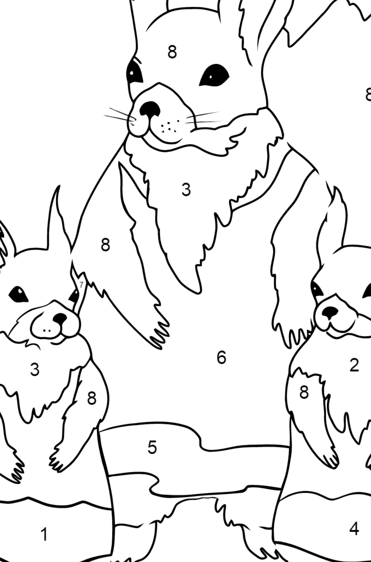 Spring Coloring Page - Squirrels are Preparing to Greet the Sun for Children  - Color by Number