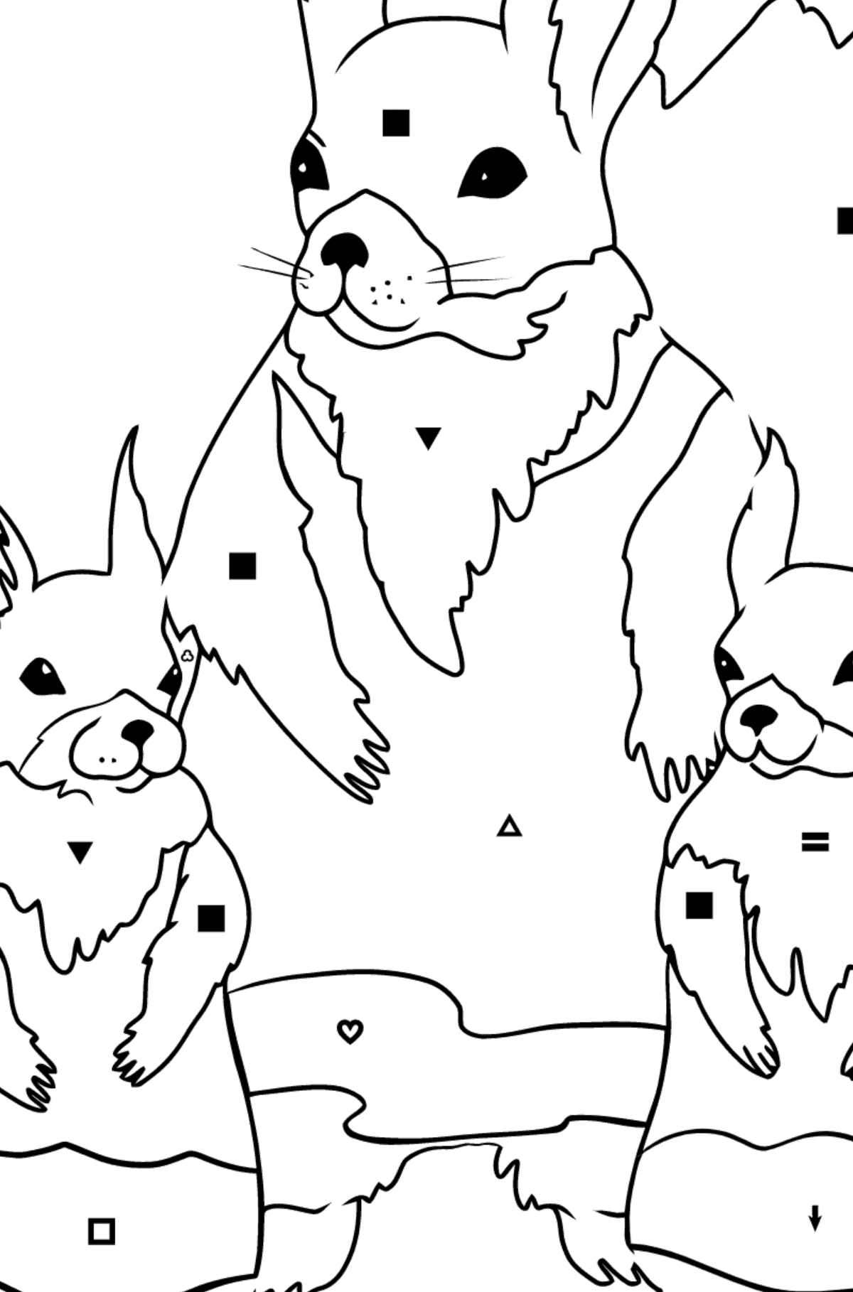 Spring Coloring Page - Squirrels are Preparing to Greet the Sun for Children  - Color by Symbols and Geometric Shapes