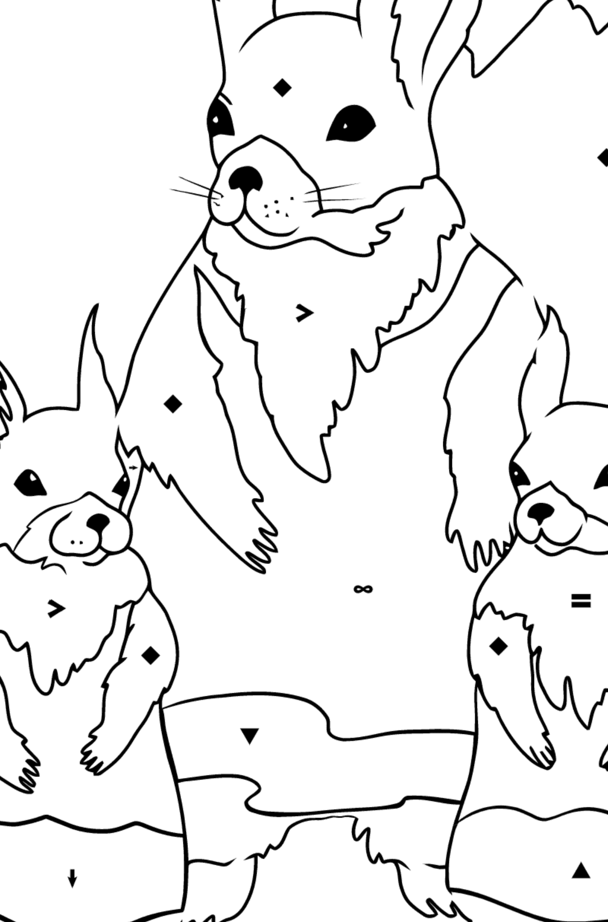 Spring Coloring Page - Squirrels are Preparing to Greet the Sun for Children  - Color by Special Symbols