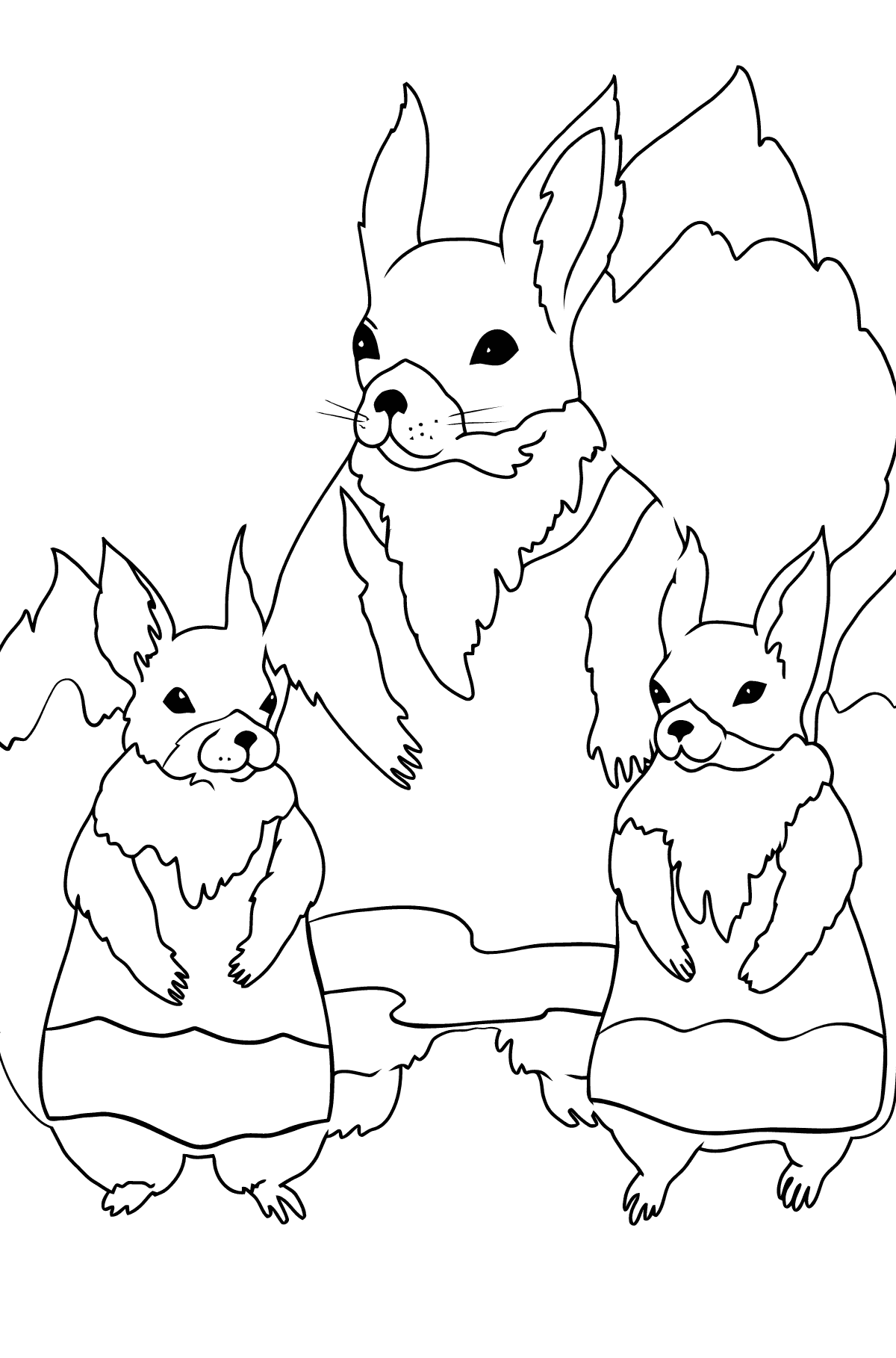 Spring Coloring Page - Squirrels are Preparing to Greet the Sun for Kids