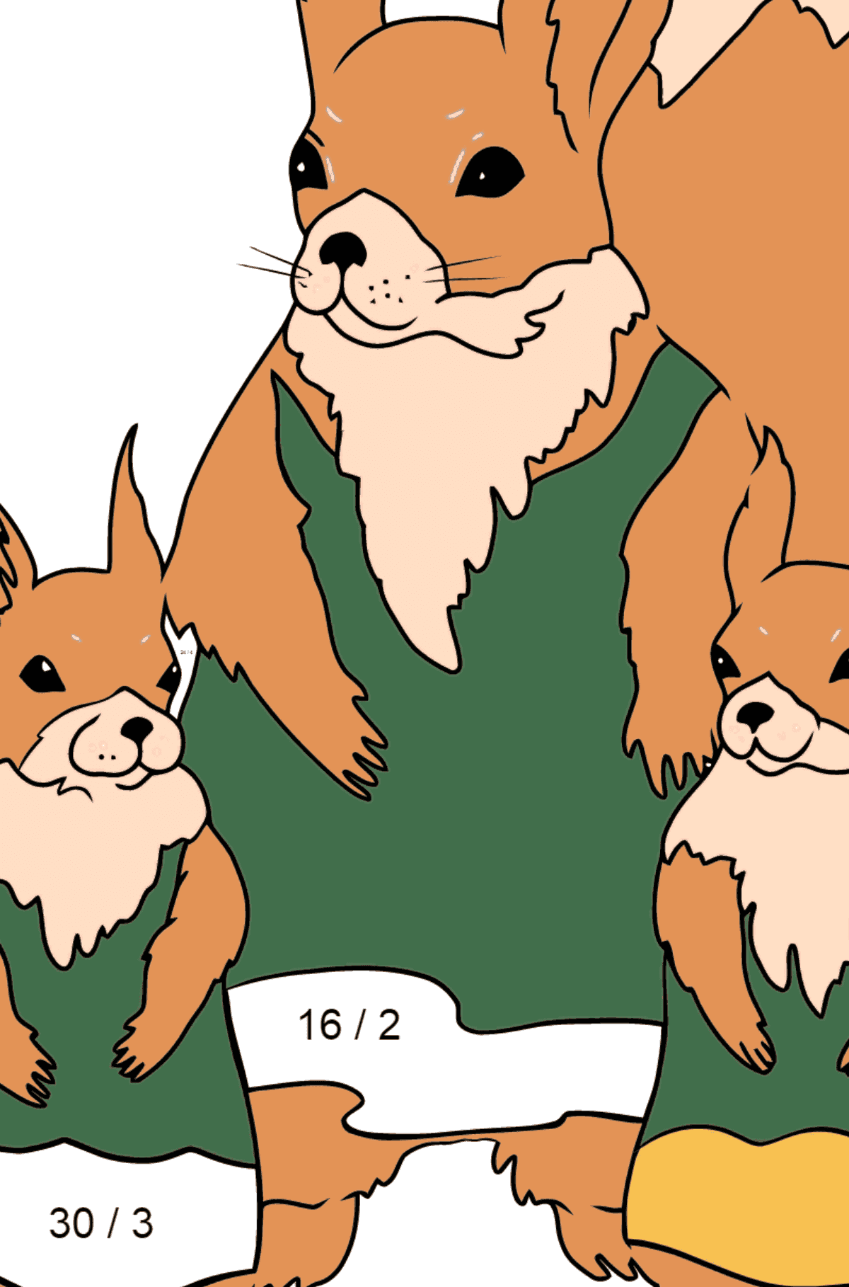 Spring Coloring Page - Squirrels are Preparing to Greet the Sun for Kids  - Color by Number Division