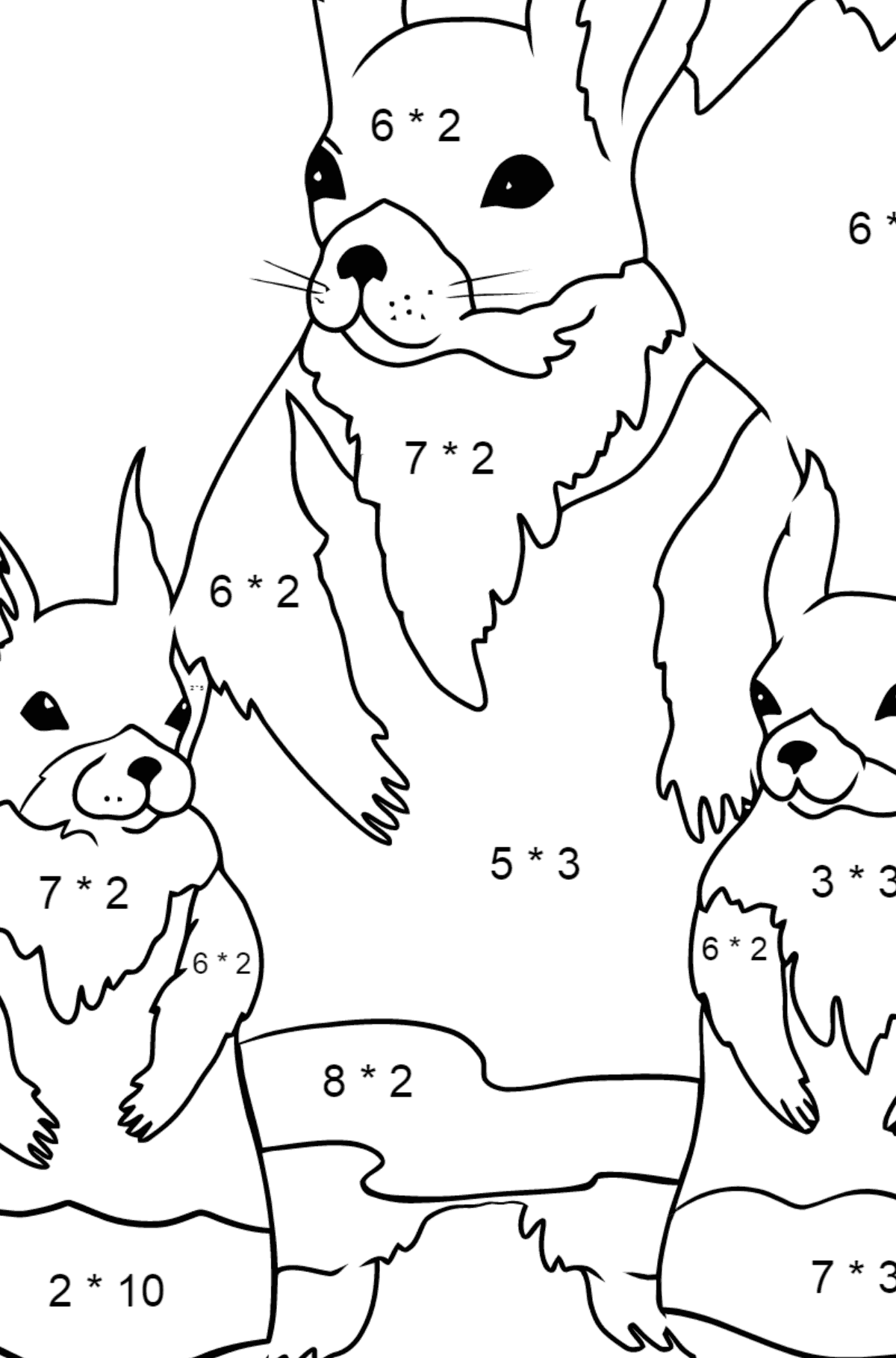 Spring Coloring Page - Squirrels are Preparing to Greet the Sun for Children  - Color by Number Multiplication
