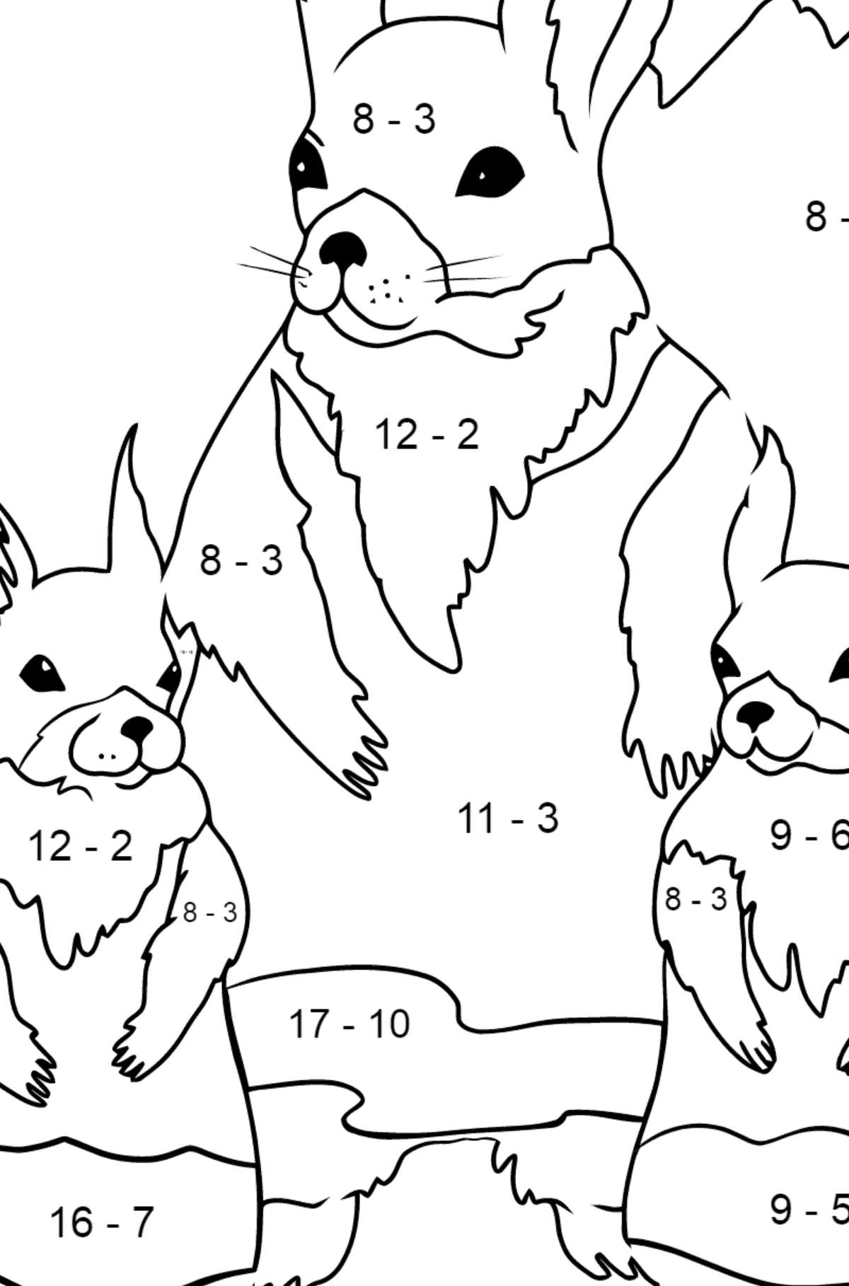Spring Coloring Page - Squirrels are Preparing to Greet the Sun for Children  - Color by Number Substraction