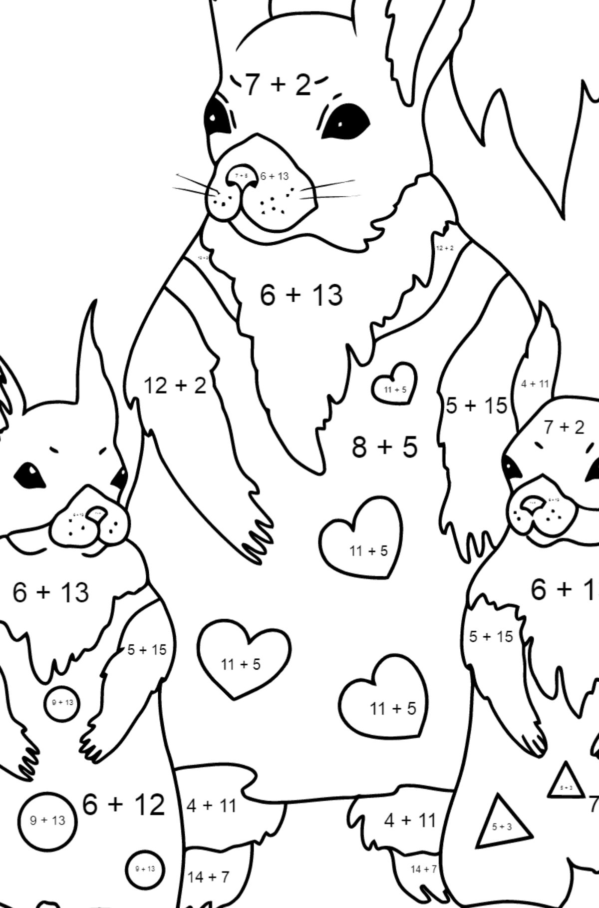Spring Coloring Page - Squirrels have Dressed Up - Math Coloring - Addition for Children