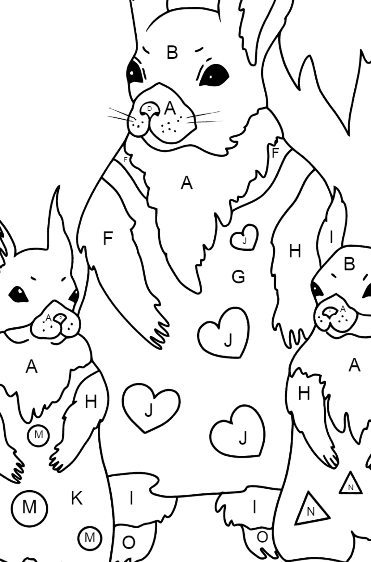 Spring Coloring Page - Squirrels have Dressed Up - Coloring by Letters for Kids