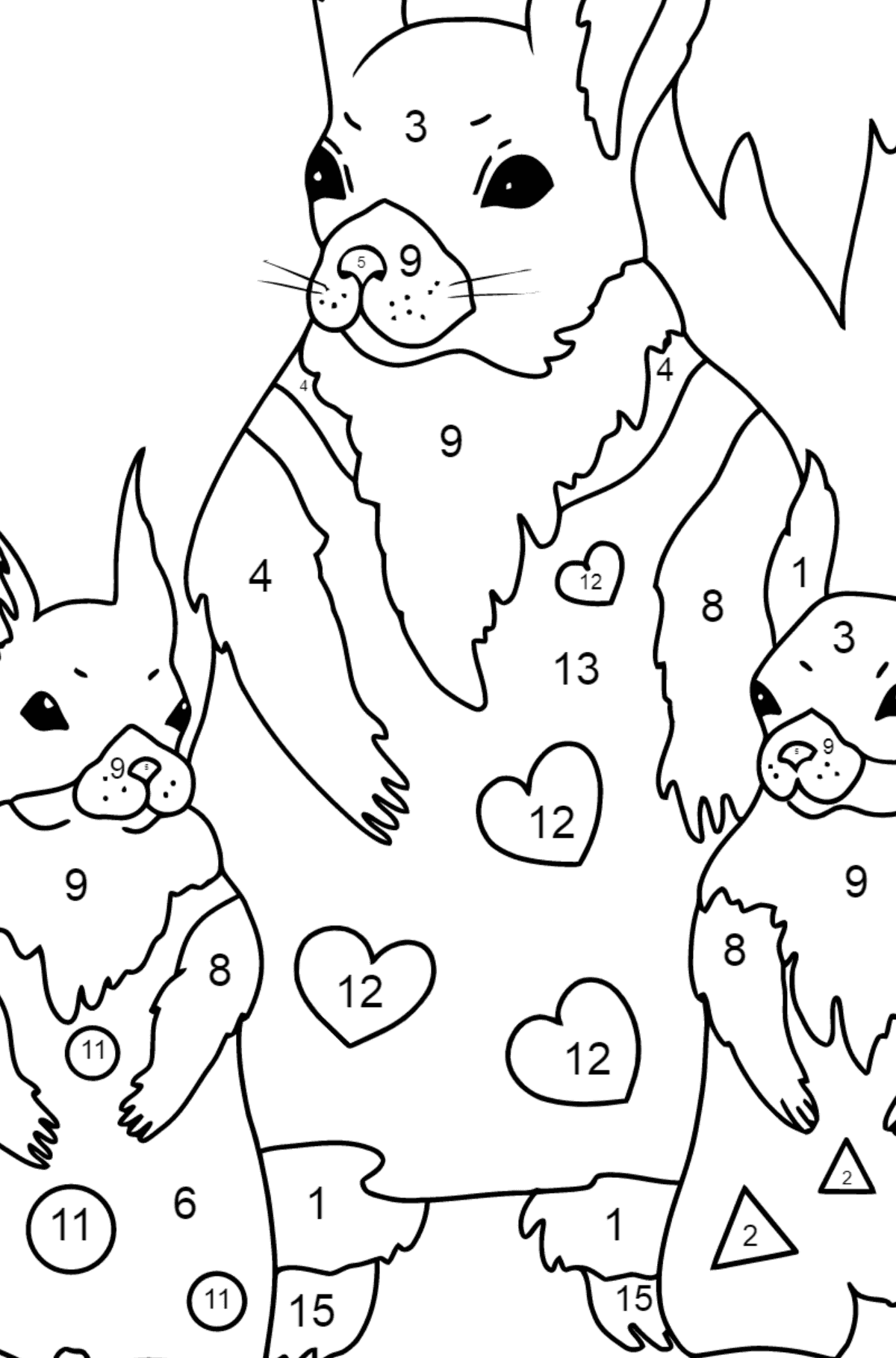 Spring Coloring Page - Squirrels have Dressed Up - Coloring by Numbers for Kids