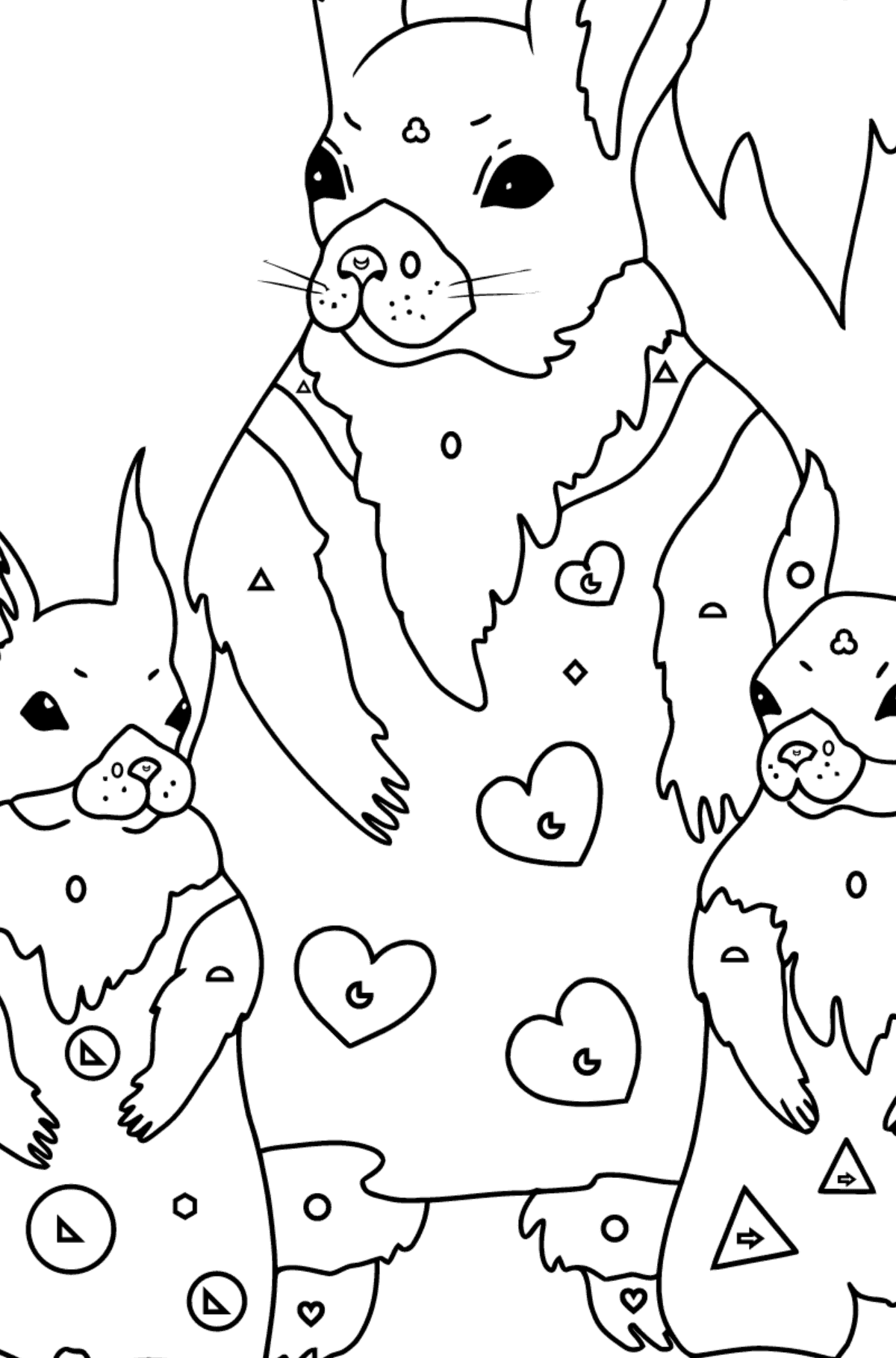 Spring Coloring Page - Squirrels have Dressed Up - Coloring by Geometric Shapes for Kids
