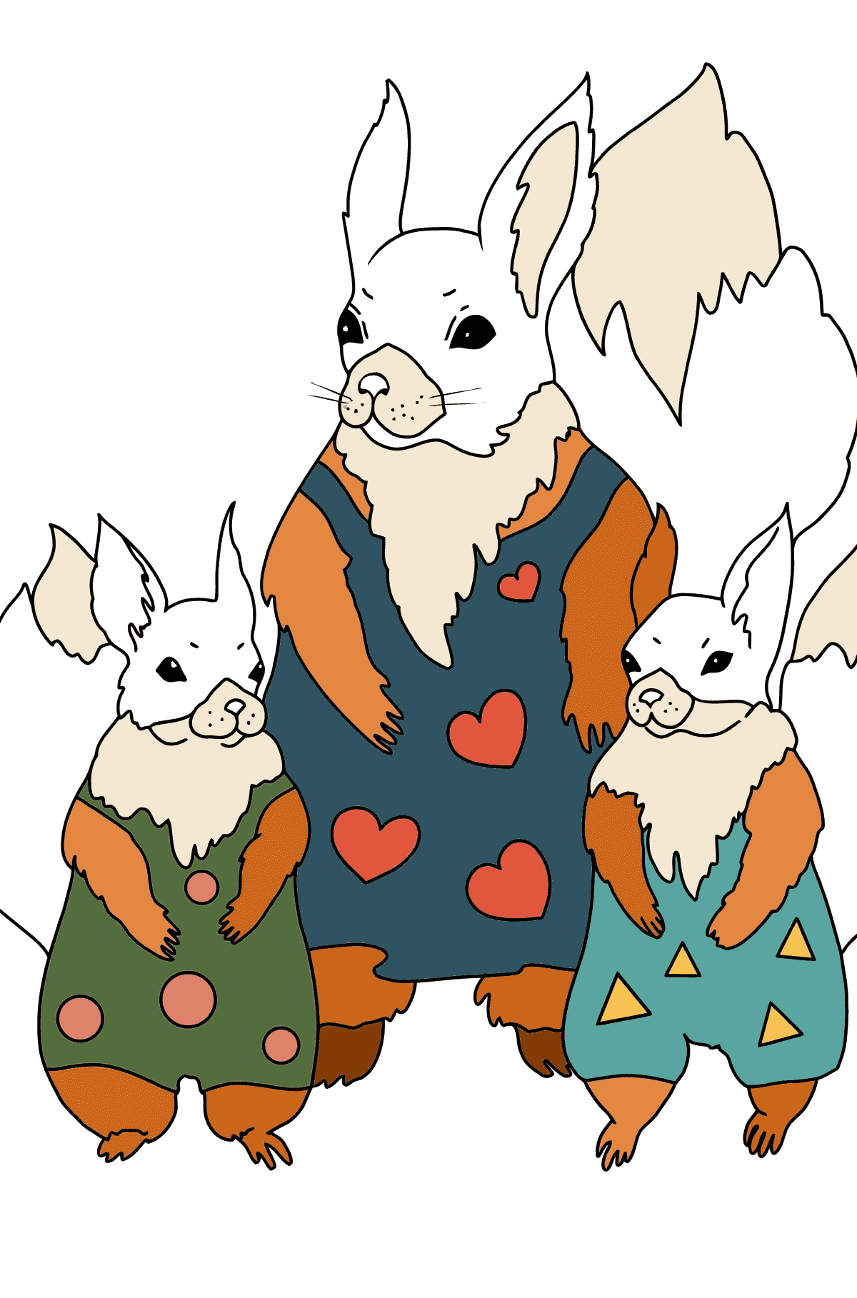 Spring Coloring Page - Squirrels have Dressed Up - Coloring Pages for Children