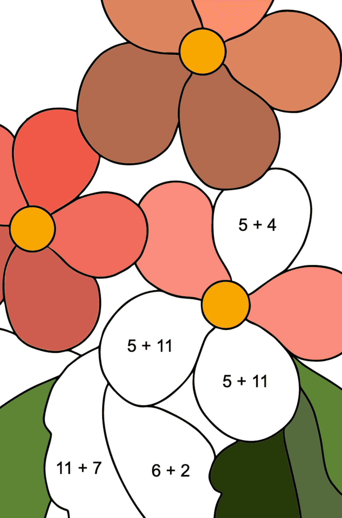 Spring Coloring Page - Time for Flowers for Children  - Color by Number Addition