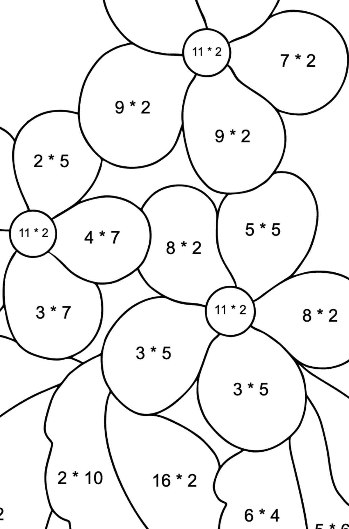 Spring Coloring Page - Time for Flowers for Children  - Color by Number Multiplication
