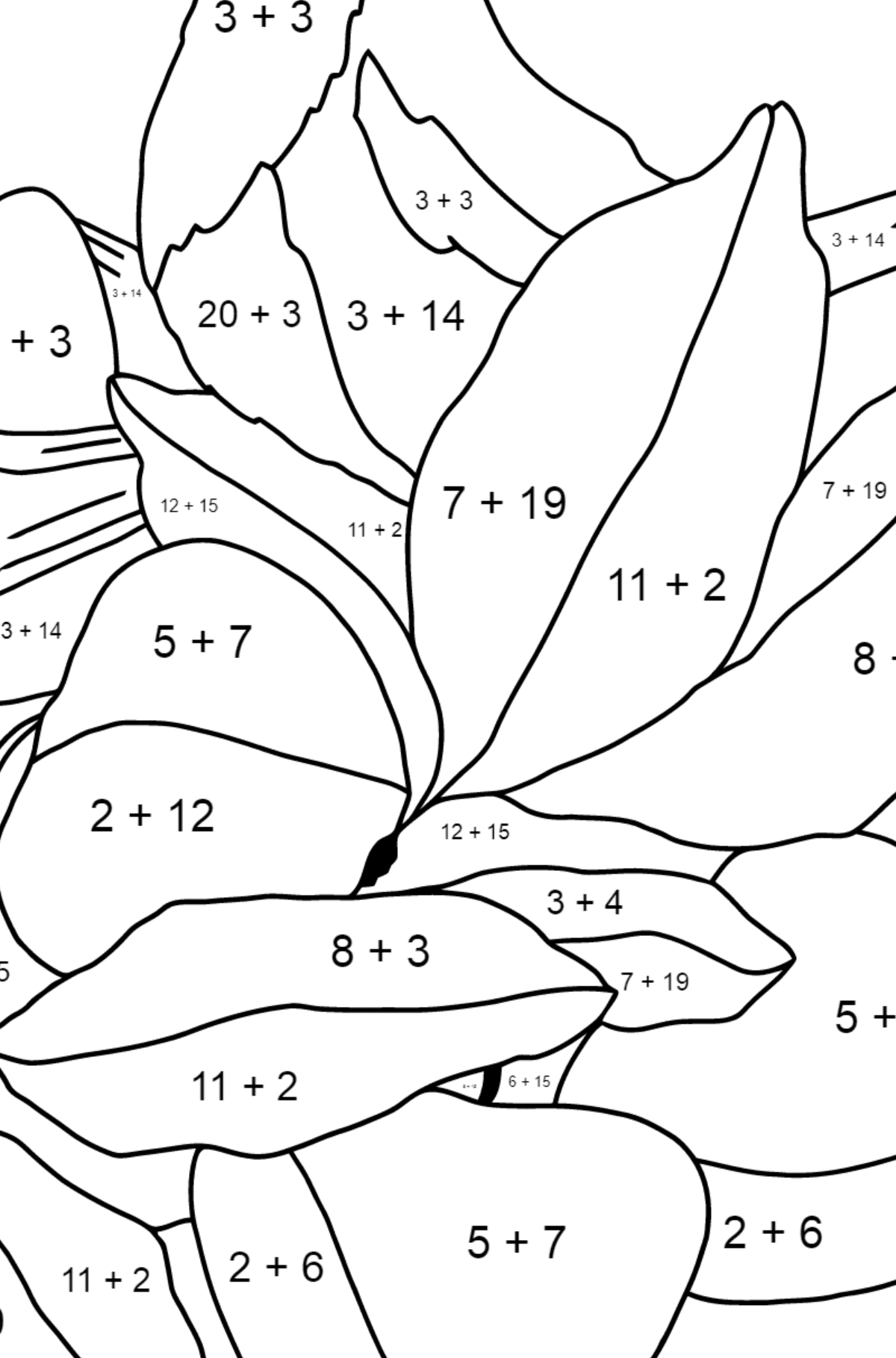 Spring Coloring Page - Time for Nestlings for Children  - Color by Number Addition