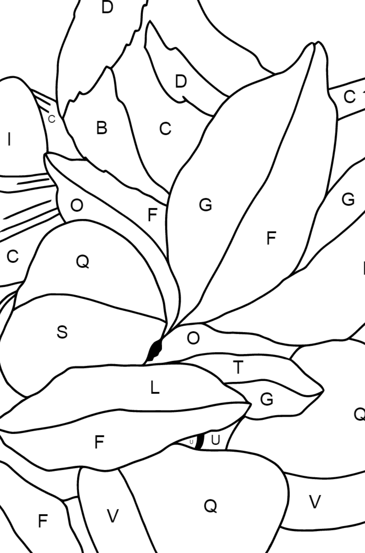 Spring Coloring Page - Time for Nestlings for Children  - Color by Letters