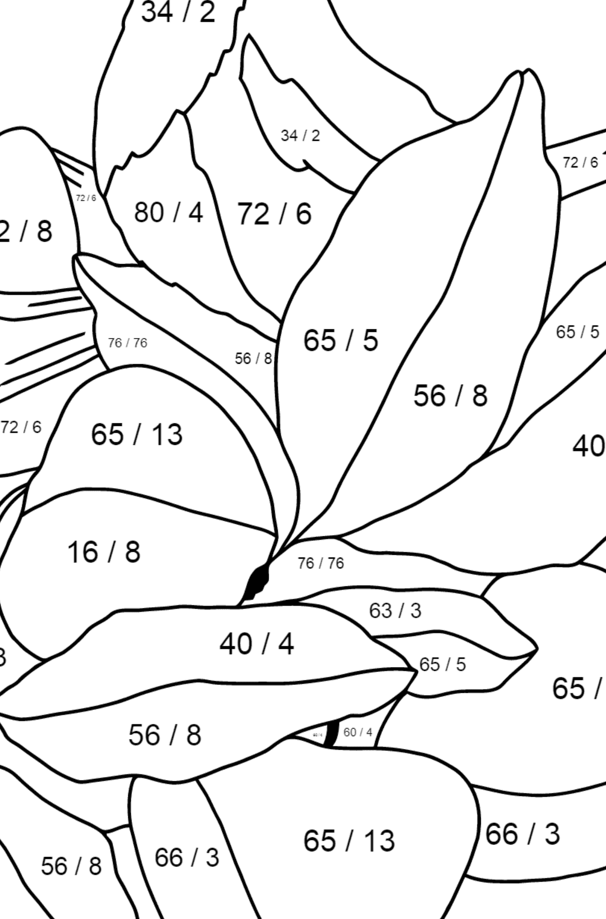 Spring Coloring Page - Time for Nestlings for Kids  - Color by Number Division