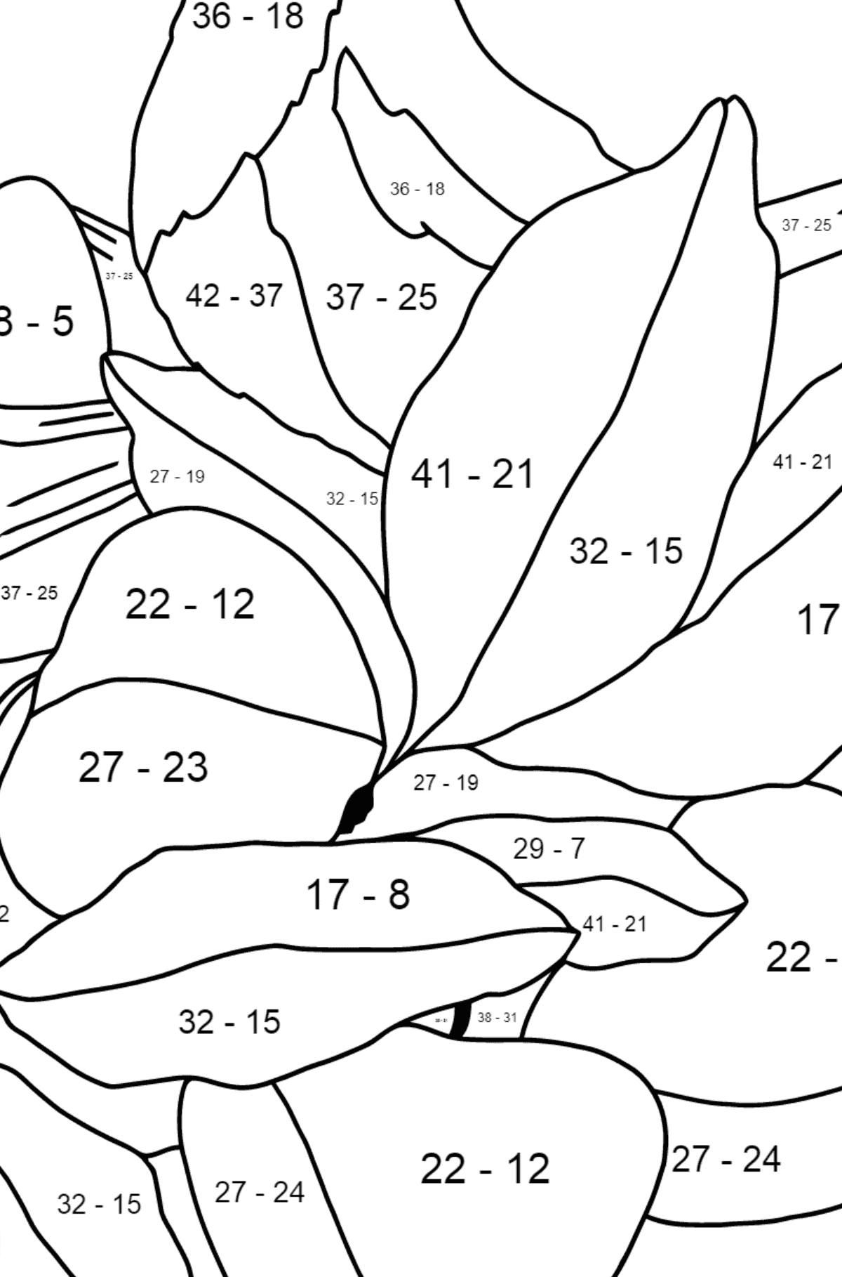 Spring Coloring Page - Time for Nestlings for Kids  - Color by Number Substraction