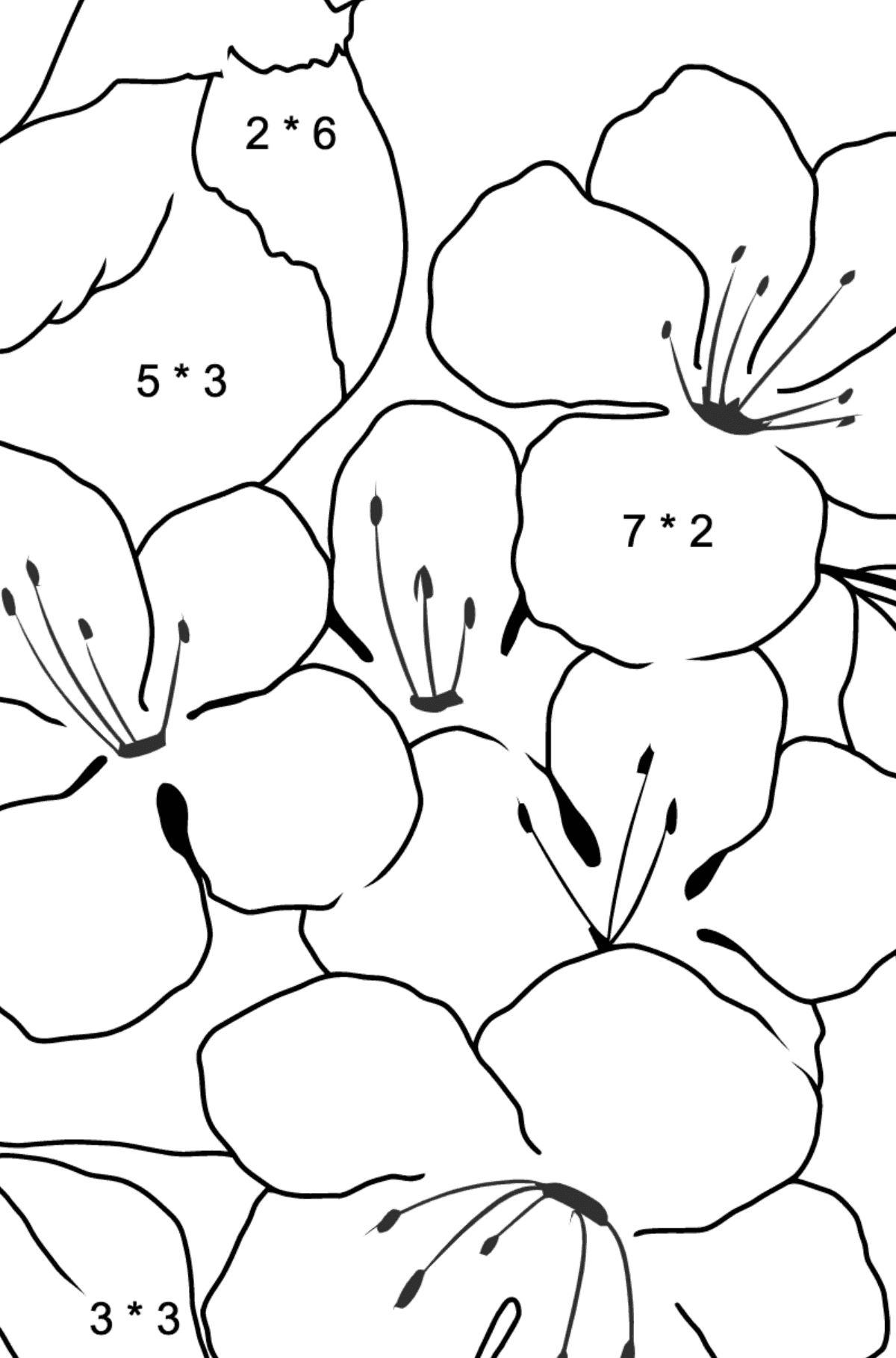 Summer Coloring Page - A Bird is Chirping on a Branch with Flowers for Kids  - Color by Number Multiplication
