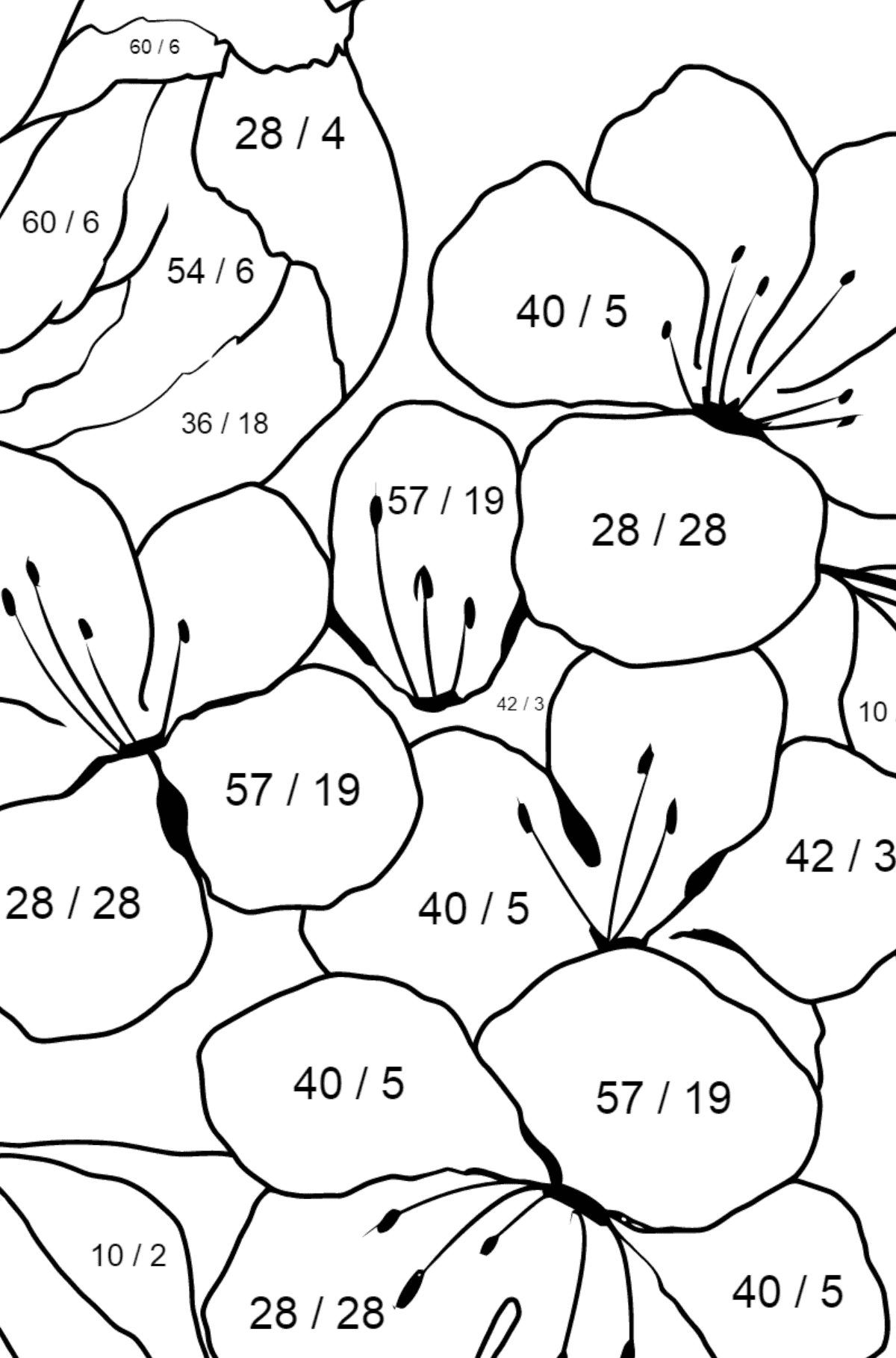 Summer Coloring Page - A Bird is Chirping on the Branch of an Apple Tree for Kids  - Color by Number Division